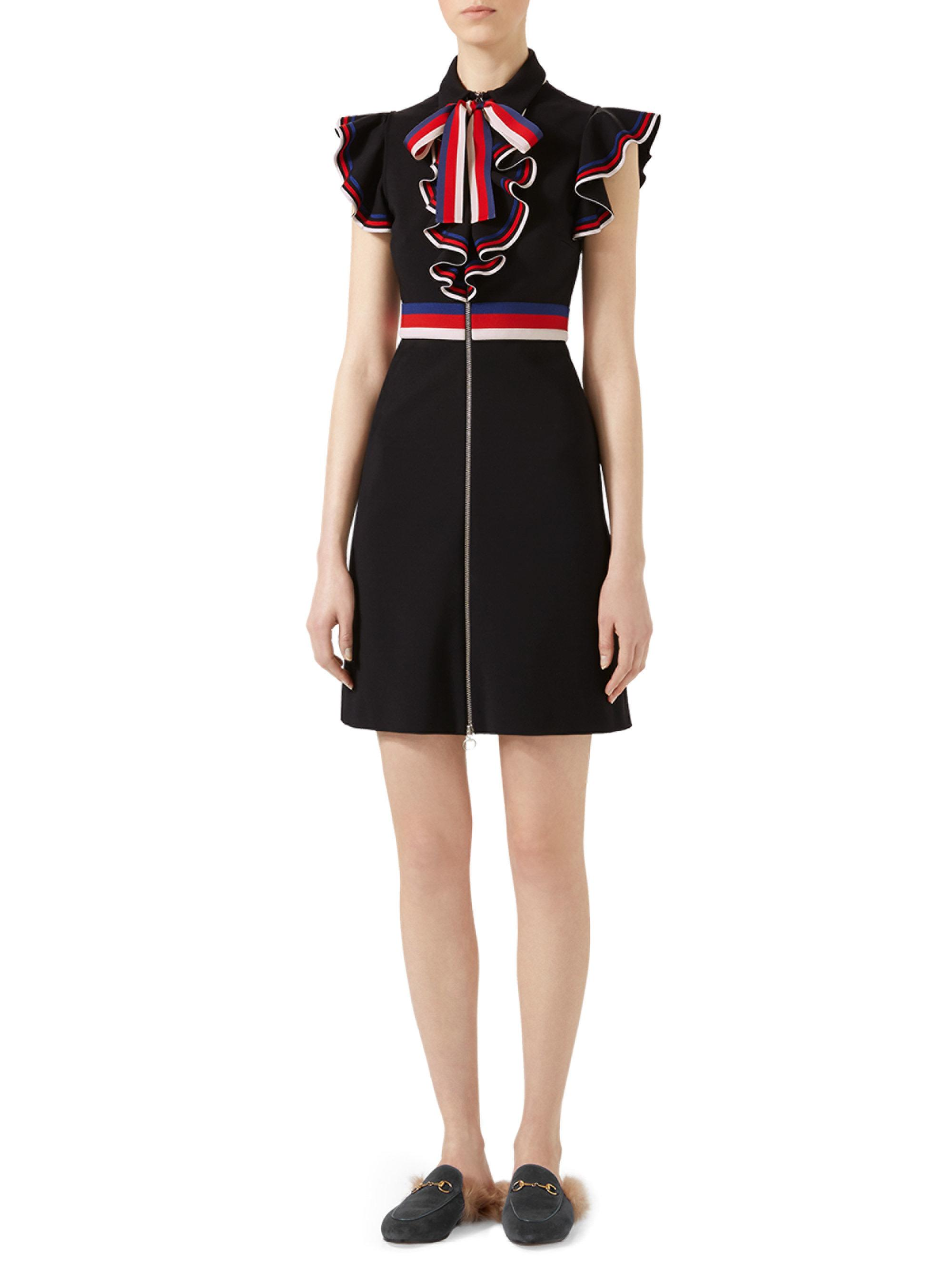 Red Striped Piping Dress Gucci ZMx2F