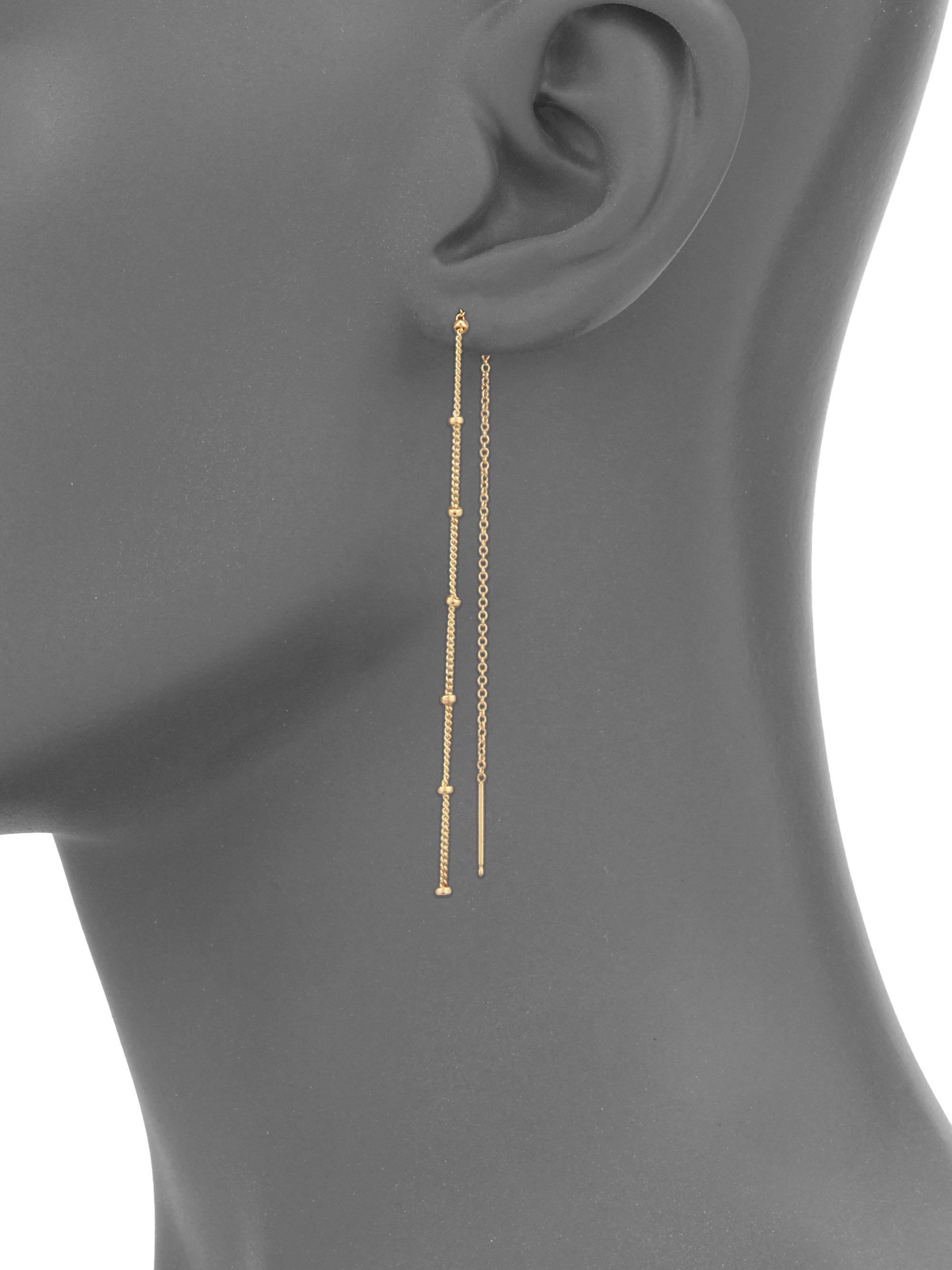 Yellow Gold Chain Threader Earrings Lyst View Fullscreen