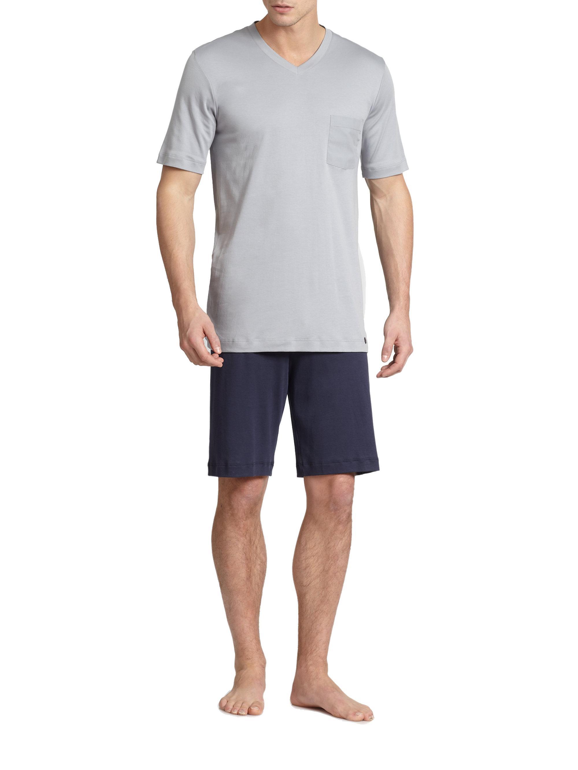 Lyst Hanro Night Day Short Pajama Set In Blue For Men