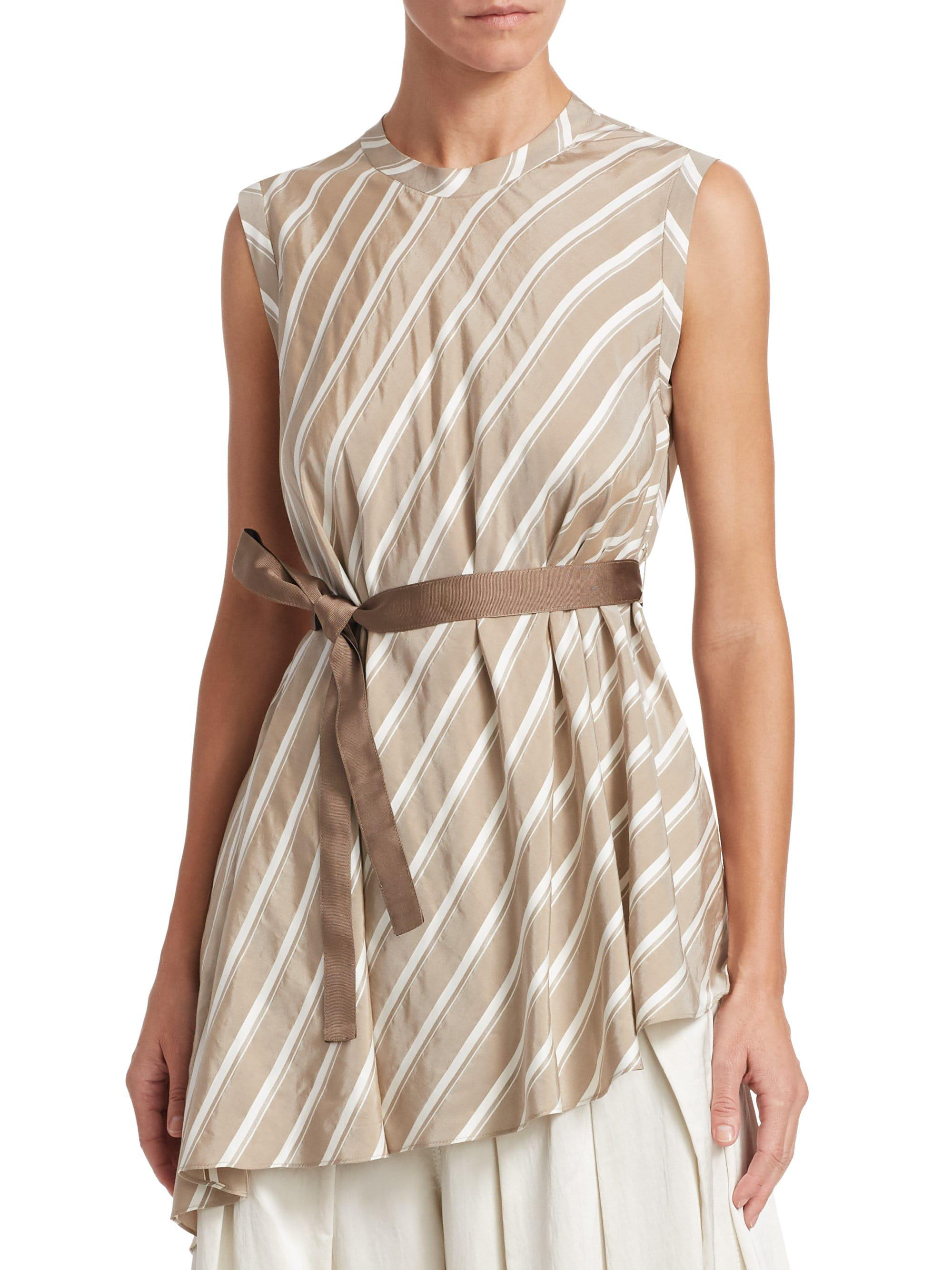 c17fc88f30296 Lyst - Brunello Cucinelli Striped Asymmetric Silk Top in White