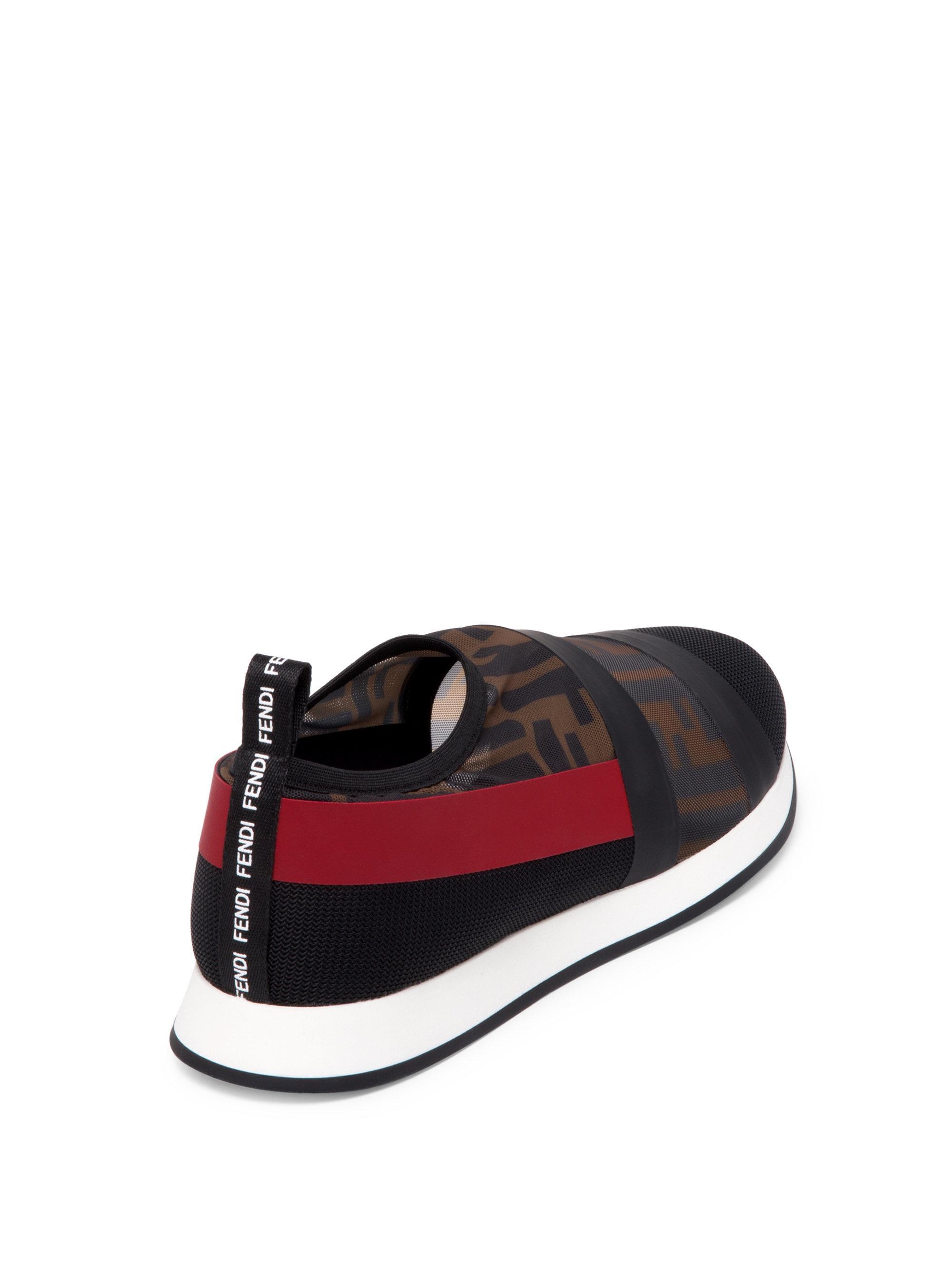 Fendi Logo Mesh Sneakers in Black - Lyst