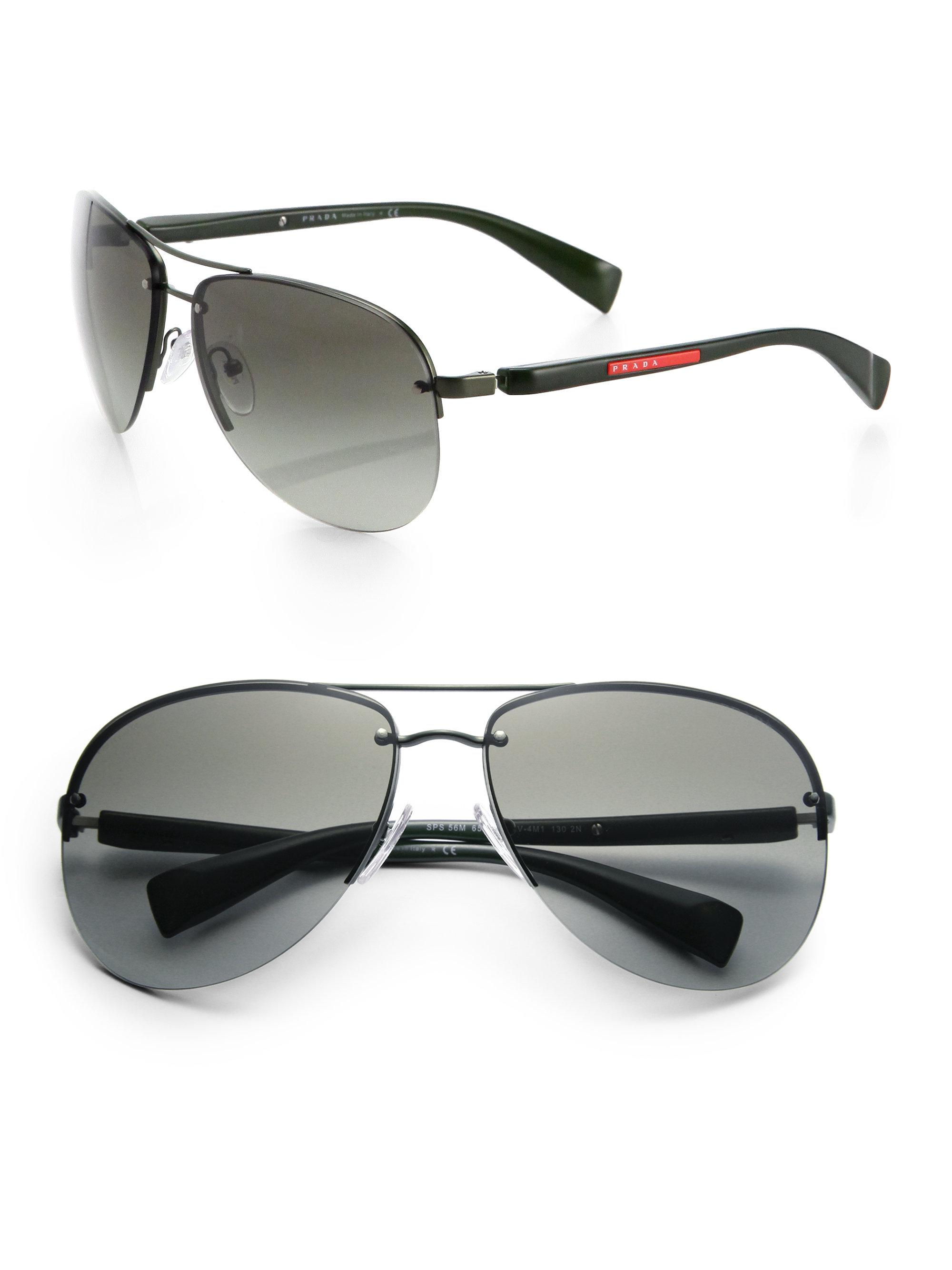 bc0953d8a243 Prada 65mm Oversized Aviator Sunglasses in Green for Men - Lyst