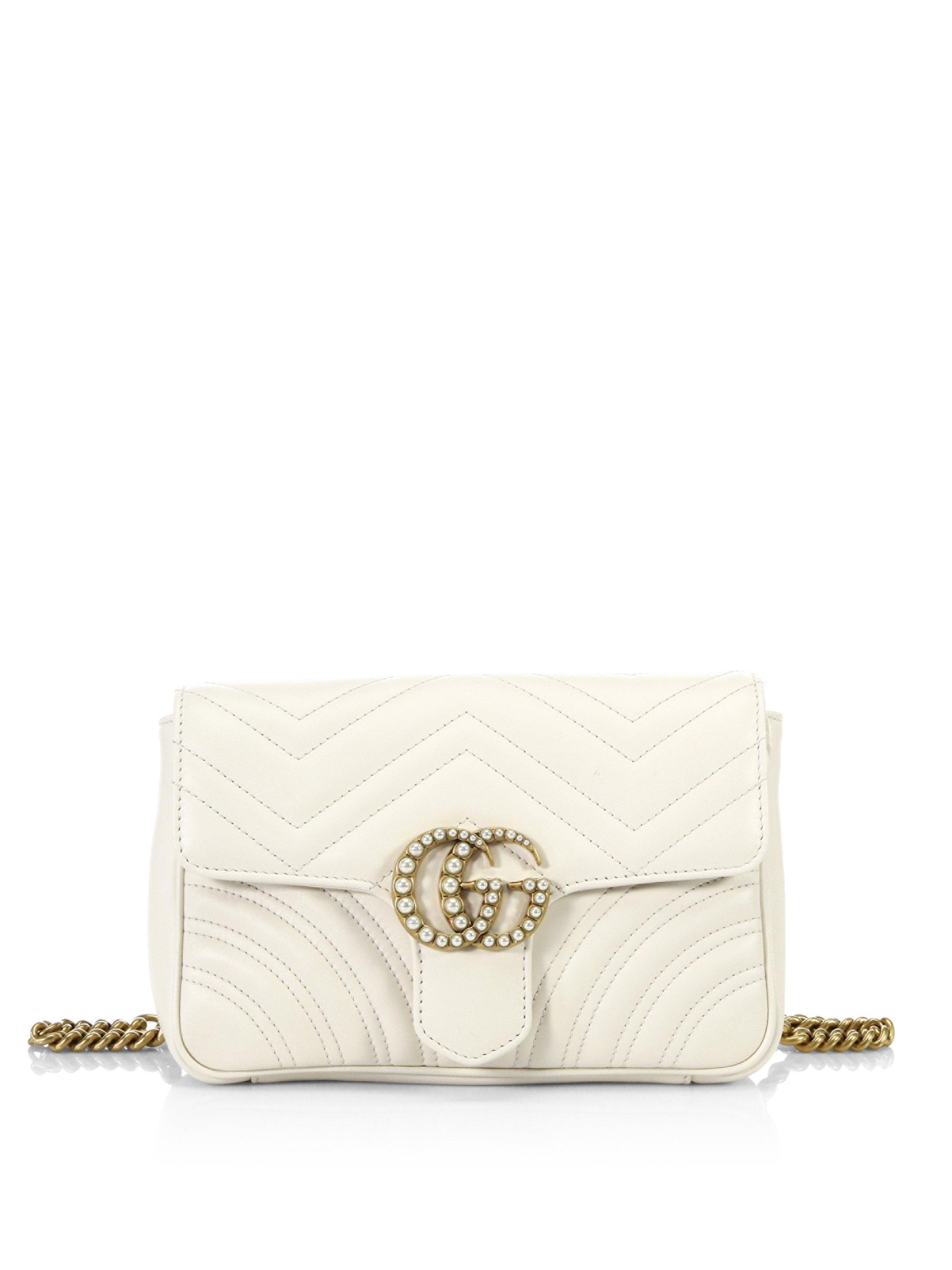 c9129b5a866 Lyst - Gucci Gg Marmont Quilted Leather Chain Belt Bag in White