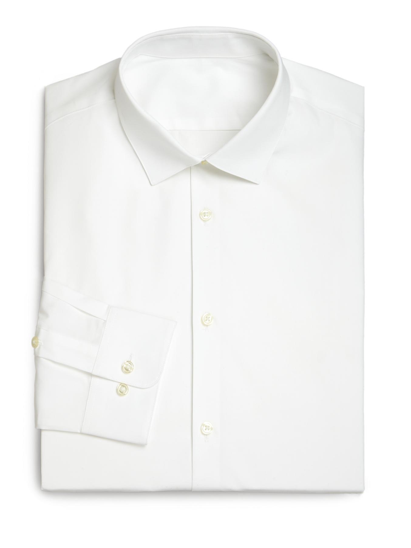 Lyst saks fifth avenue modern slim fit stretch poplin for Modern fit dress shirt