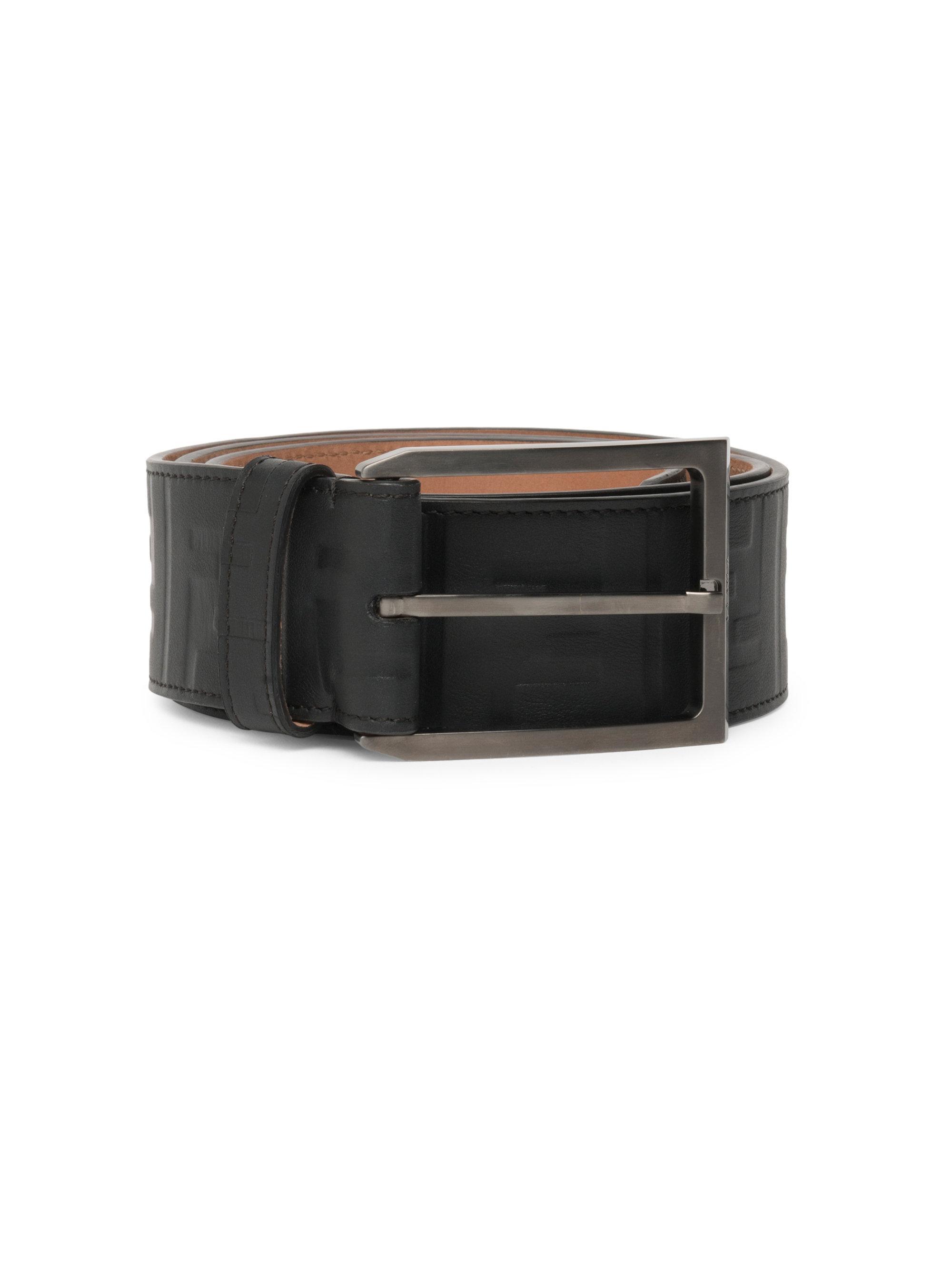 90f4602099 Men's Black Vitello Grace Zucca Embossed Leather Belt