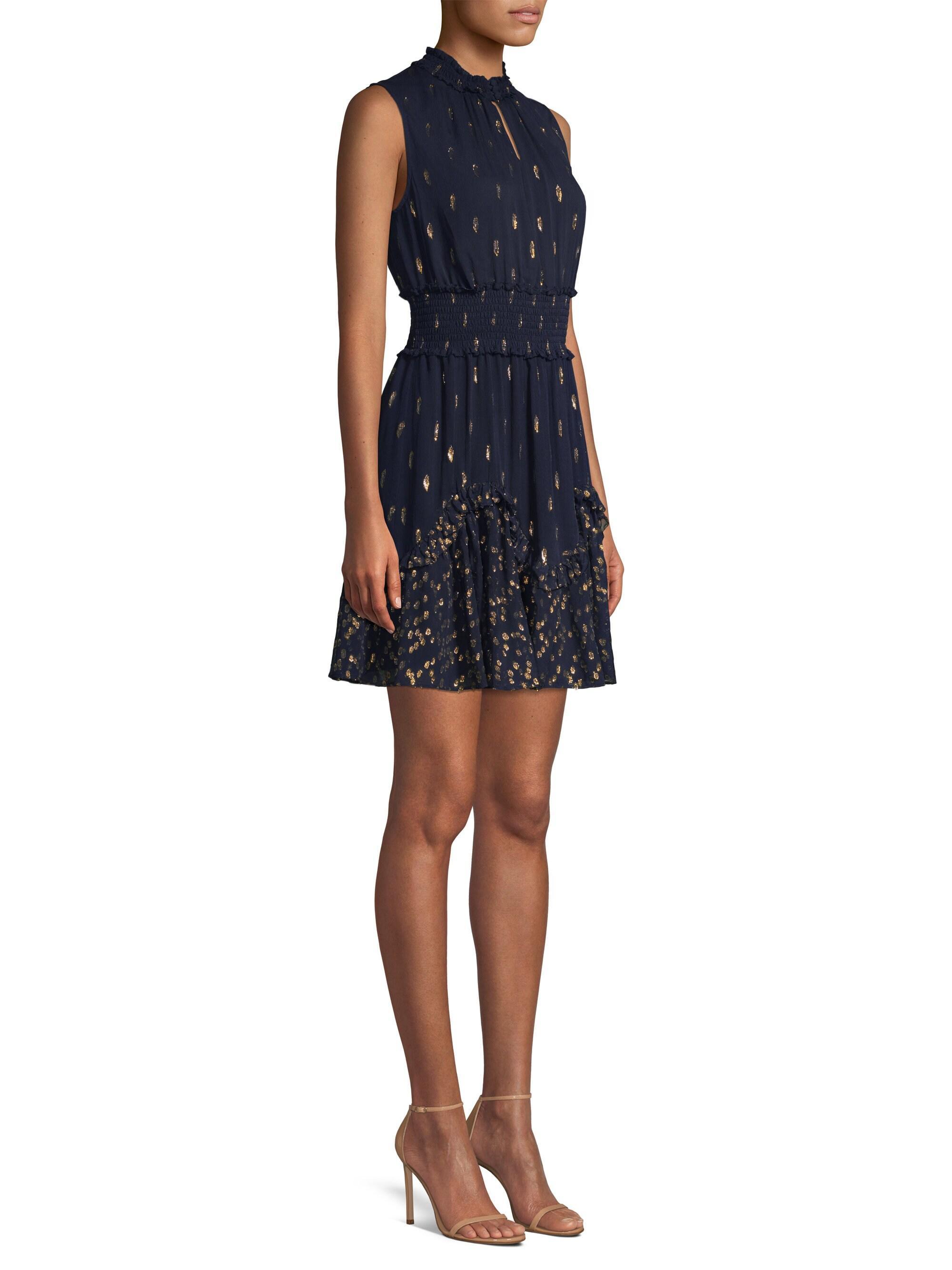 b7e7bdf1592 Rebecca Taylor Polka Dot Ruffle Dress in Blue - Lyst