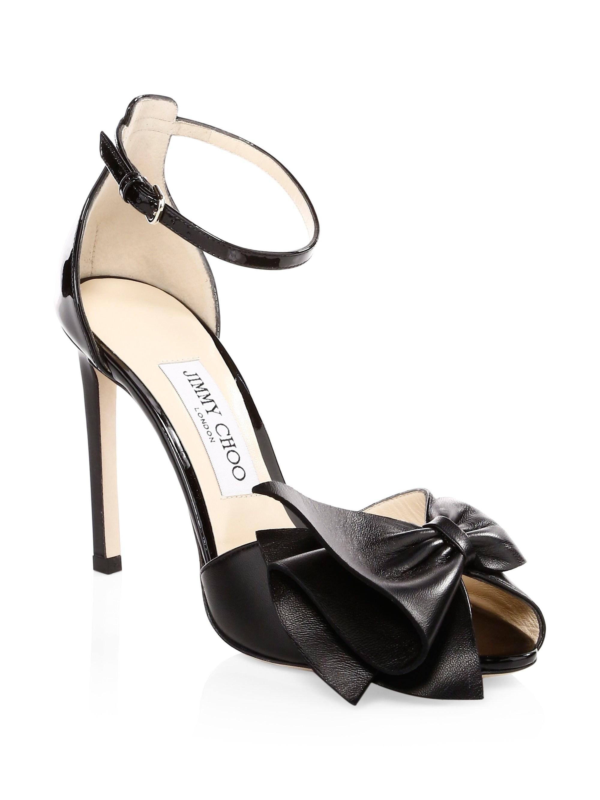 758cf1fdc97 Jimmy Choo Women s Karlotta Peep Toe Heels - Black - Size 37 (7) in ...
