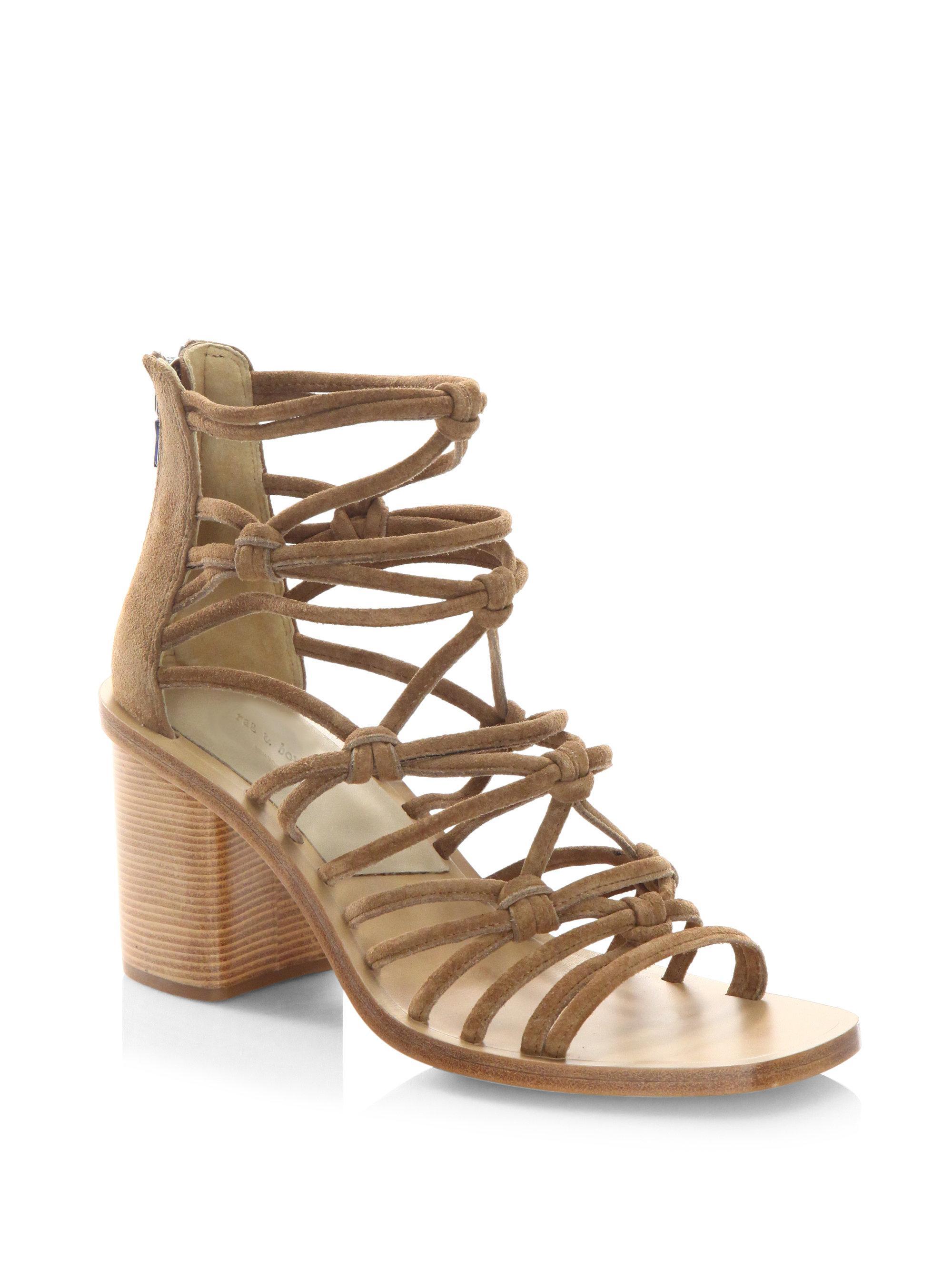 7c0079989fa Lyst - Rag   Bone Camille Macramé Suede Block Heel Sandals in Natural