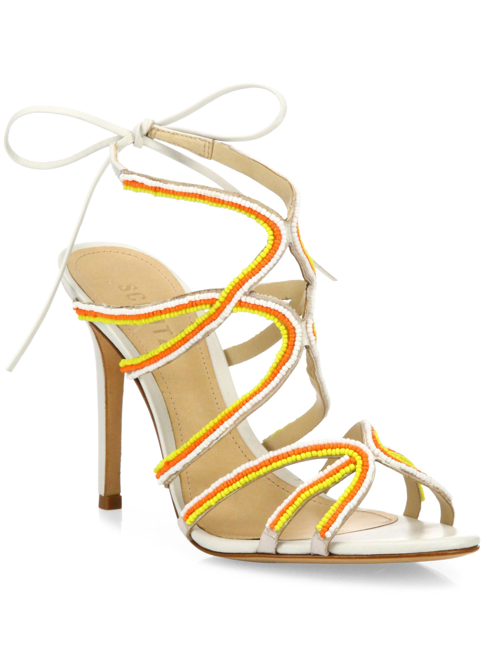ccecbe22ef8 Lyst - Schutz Meera Beaded Leather Sandals in Natural