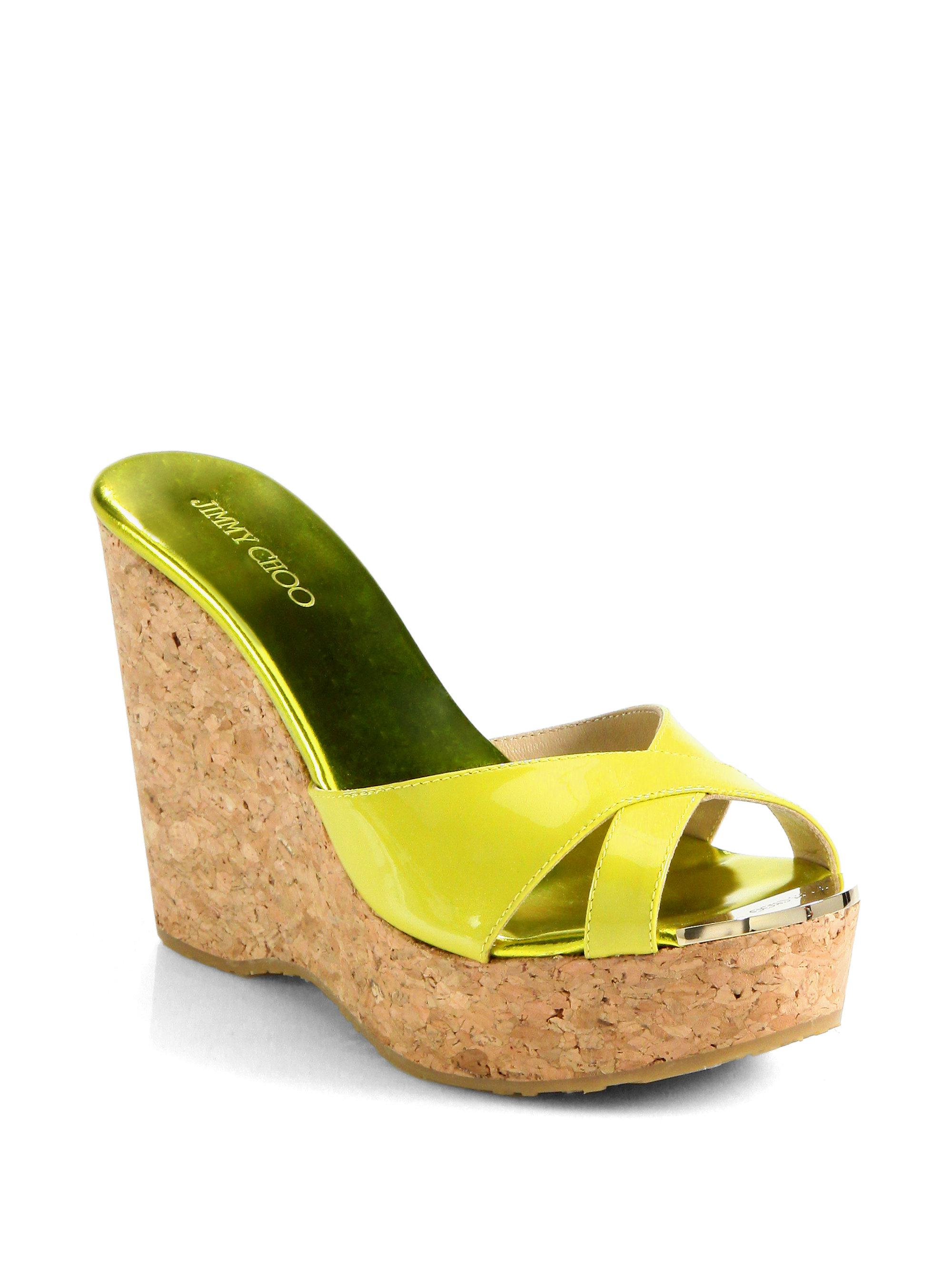 f7593375e213 Lyst - Jimmy Choo Perfume 120 Patent Leather And Cork Wedge Sandals ...
