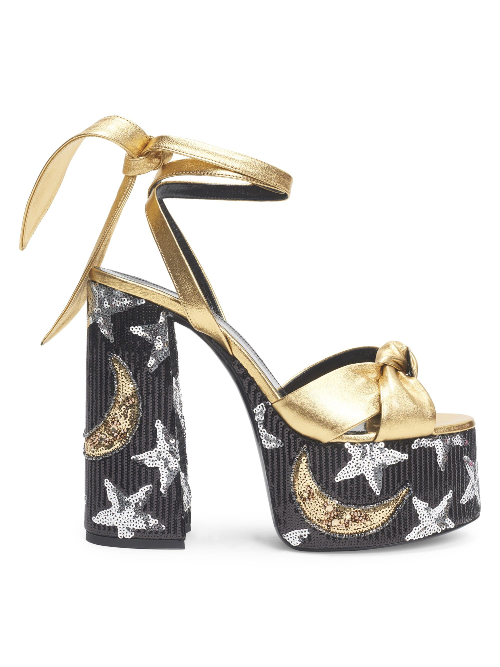 160fa738fb5 Lyst - Saint Laurent Paige Sequin Leather Platform Sandals in Metallic