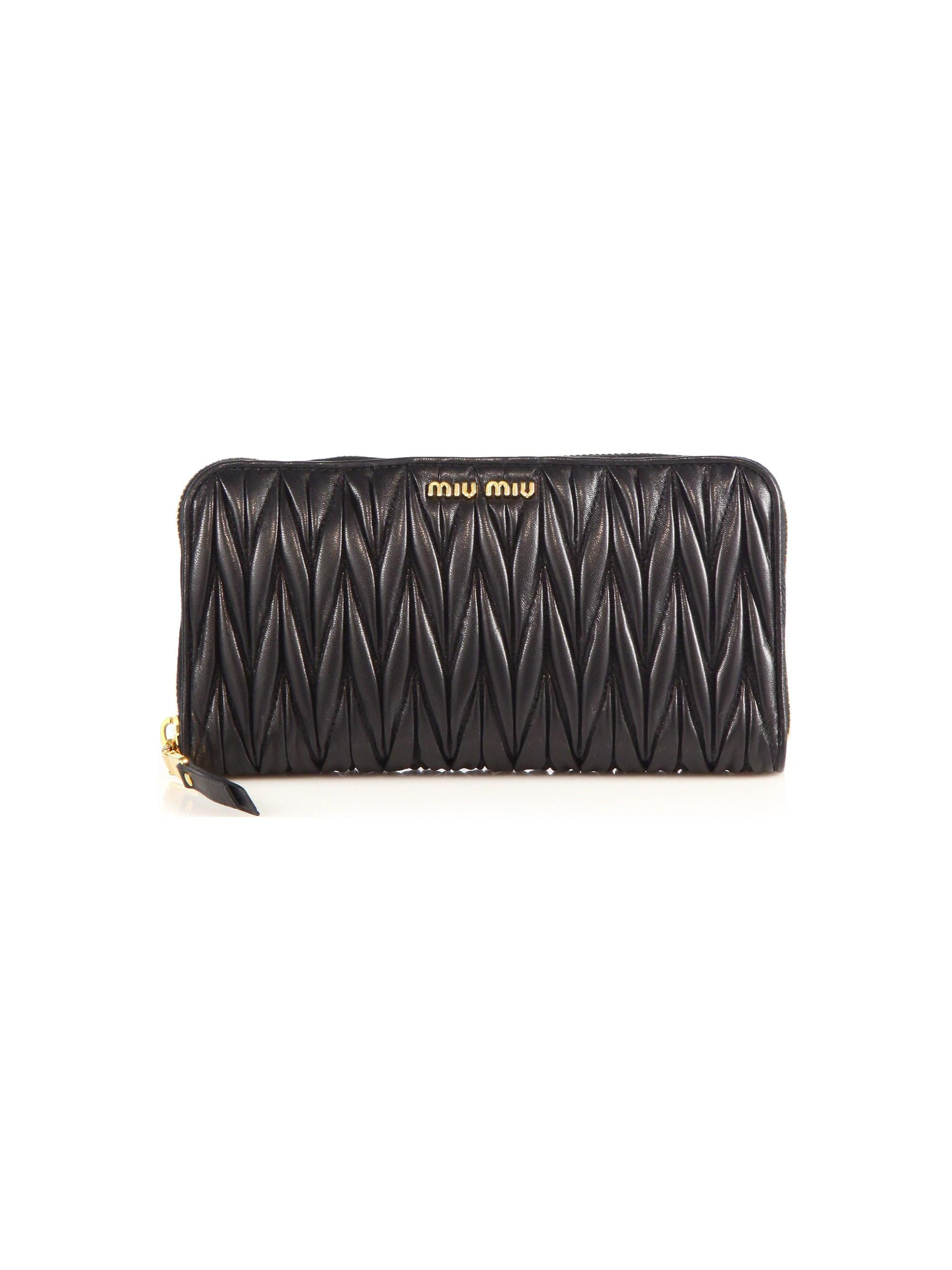 345837a52a09 Lyst - Miu Miu Matelasse Leather Zip Continental Wallet in Black ...