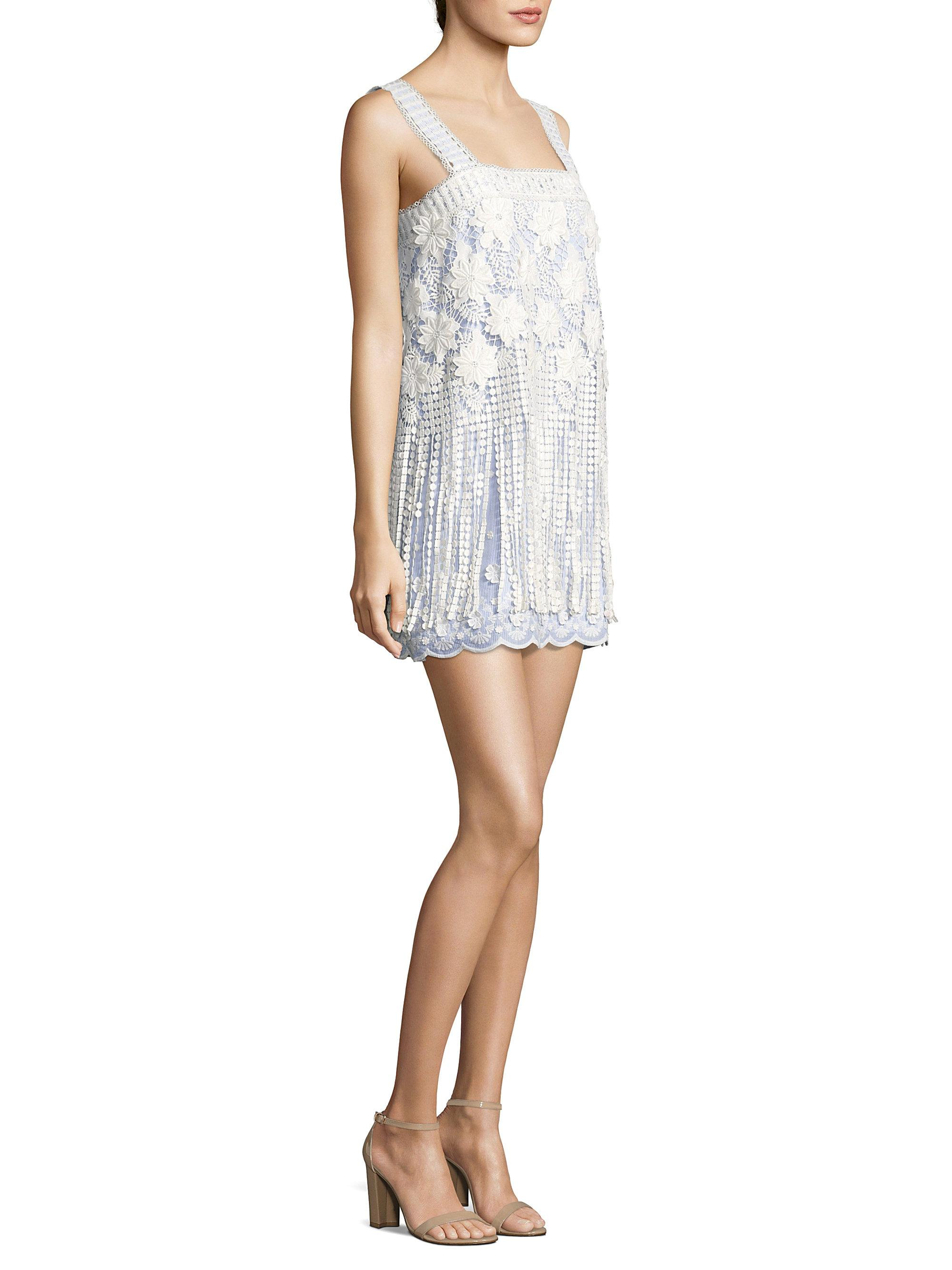 975cd522add Alexis Fulton Striped Floral Embroidered Mini Dress - Lyst