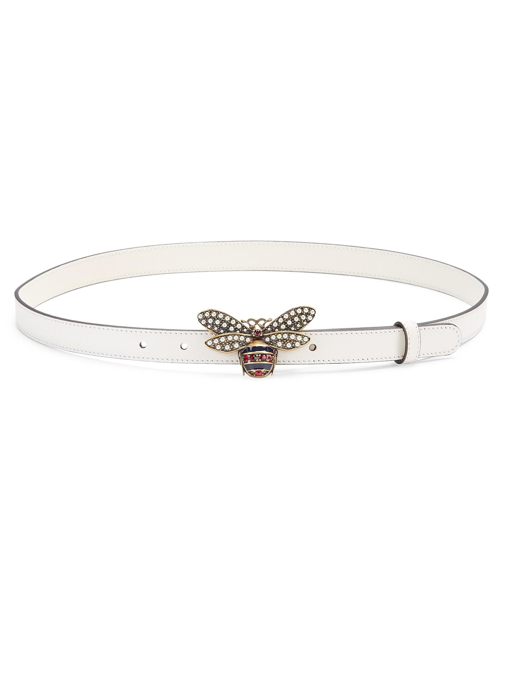 51036193605 Lyst - Gucci Queen Margaret Leather Belt in White