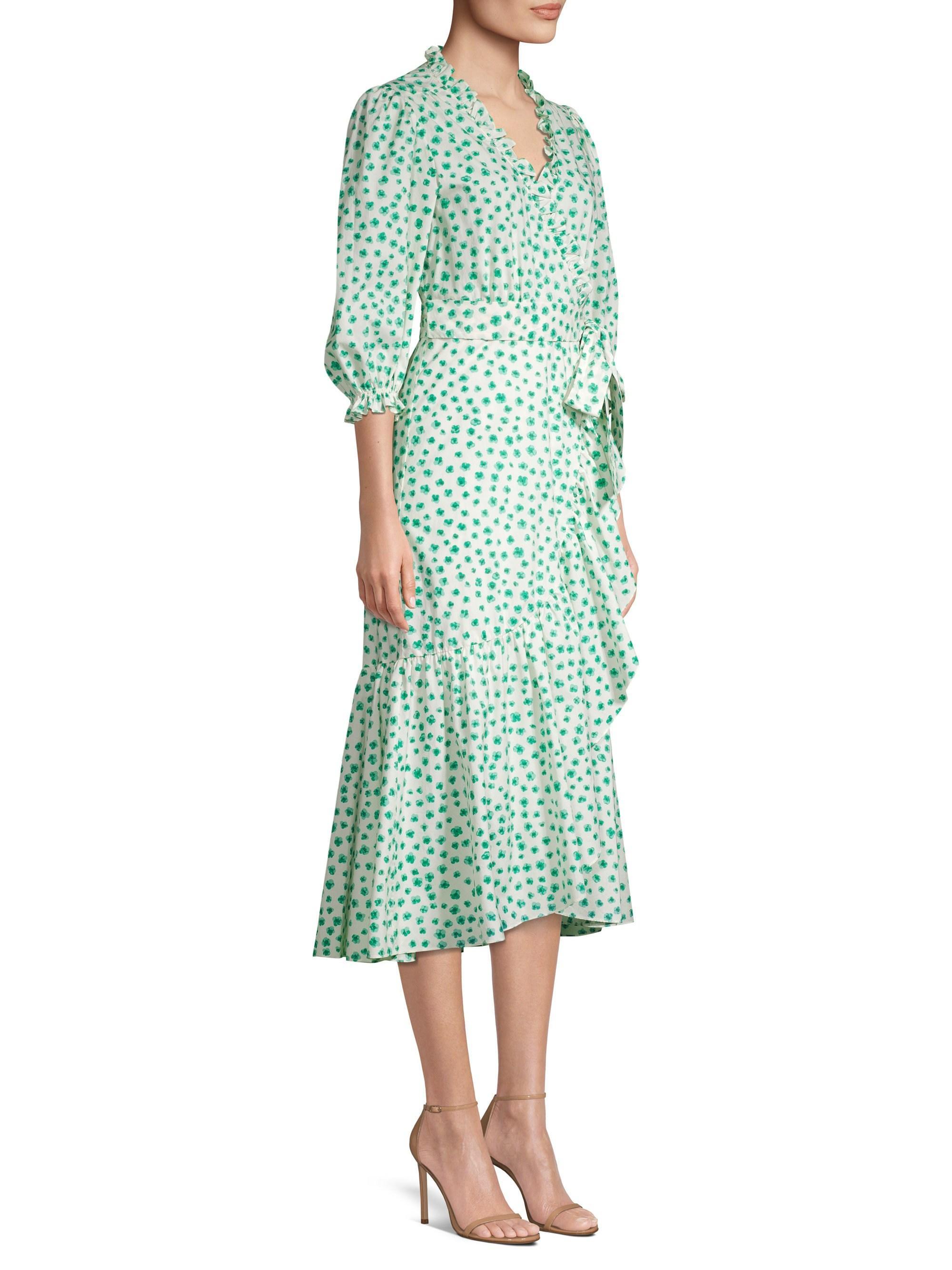 Rebecca Taylor Cotton Emerald Daisy Dress In Cream Combo