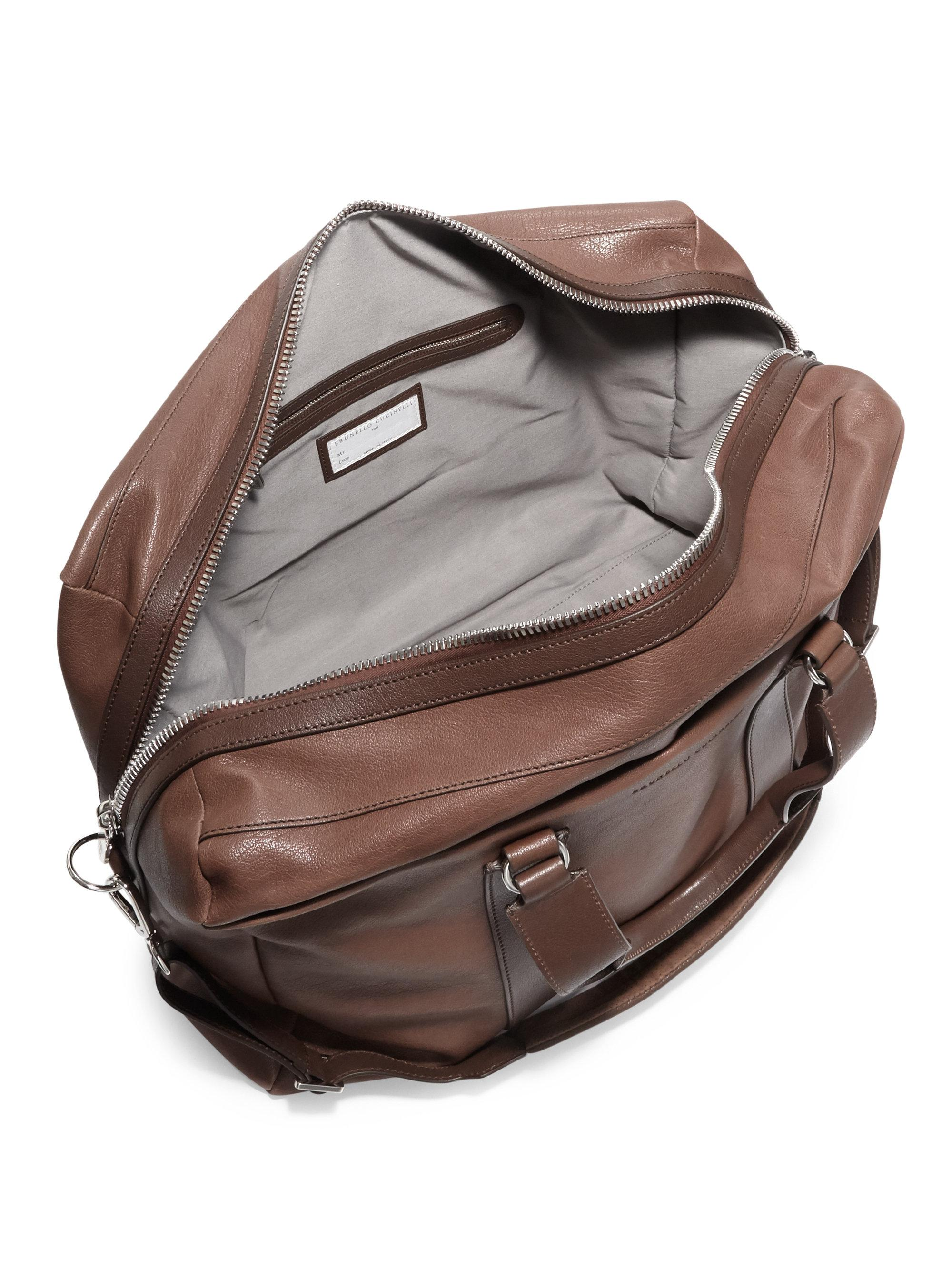 Brunello Cucinelli Leather Travel Bag in Brown for Men - Lyst