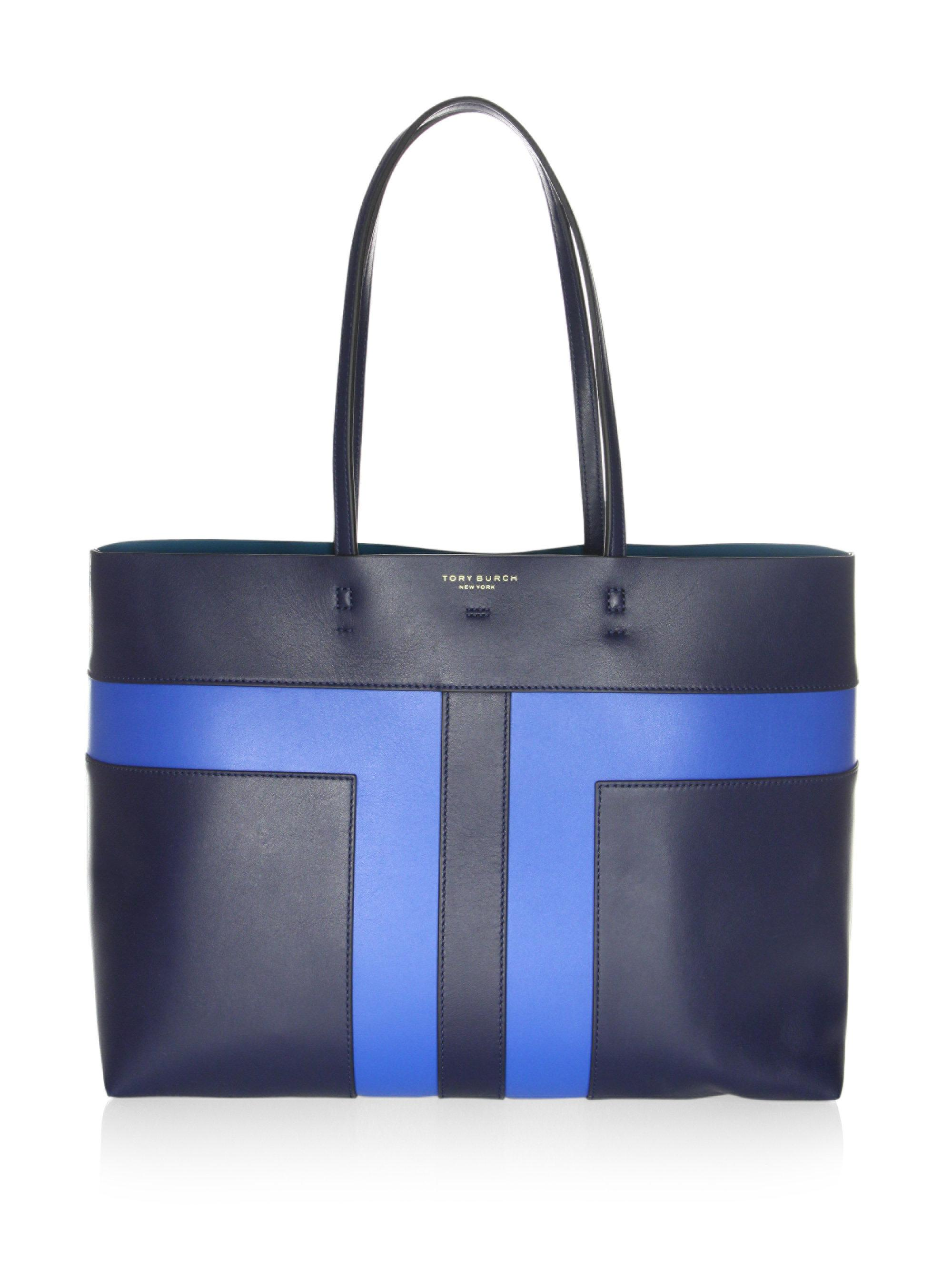 Lyst - Tory Burch Block-t Pieced Leather Tote in Blue b634fde627e86