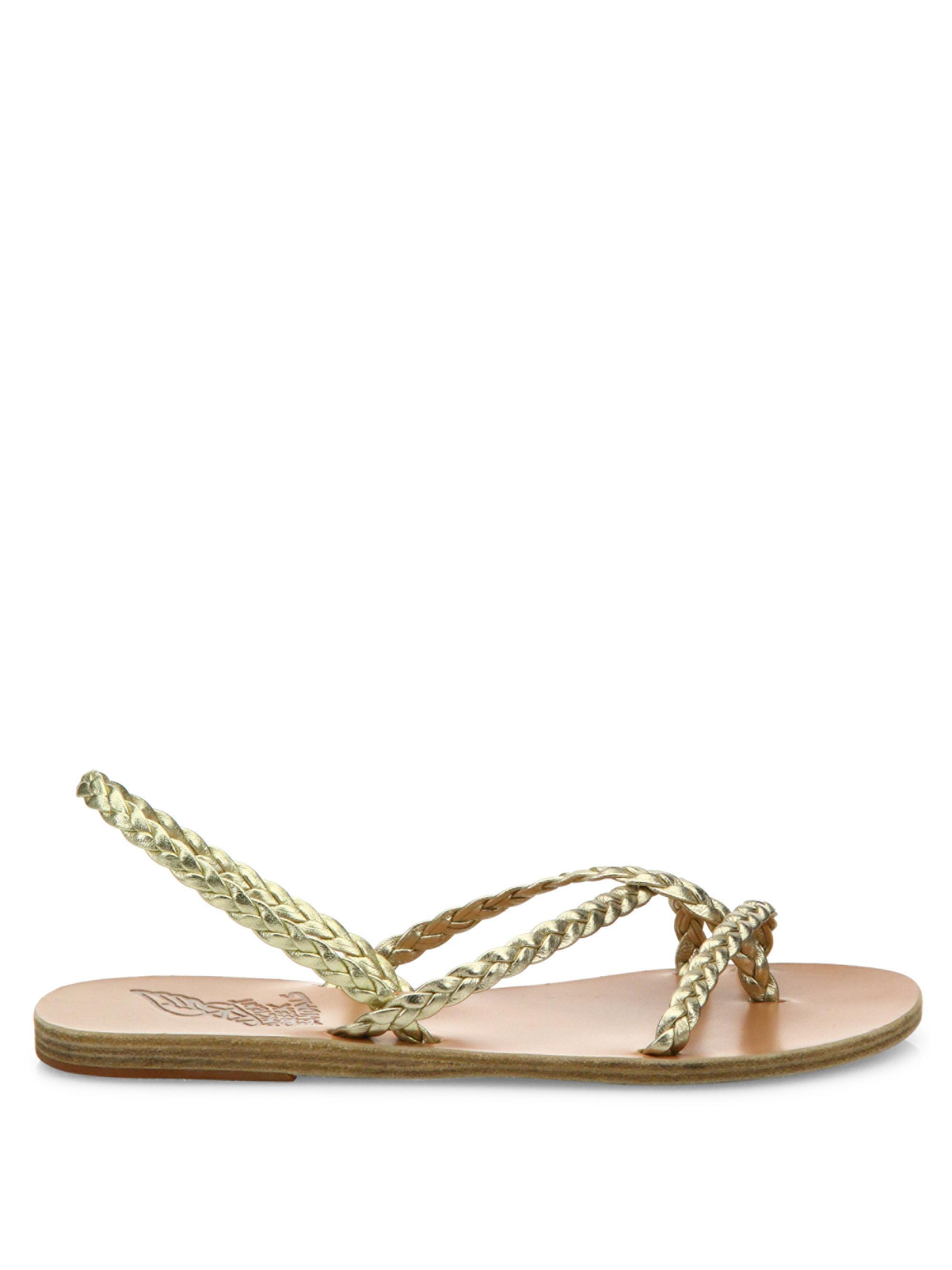 Ancient Greek Sandals Yianna Braided Vachetta Leather Flat Sandals MypYPS