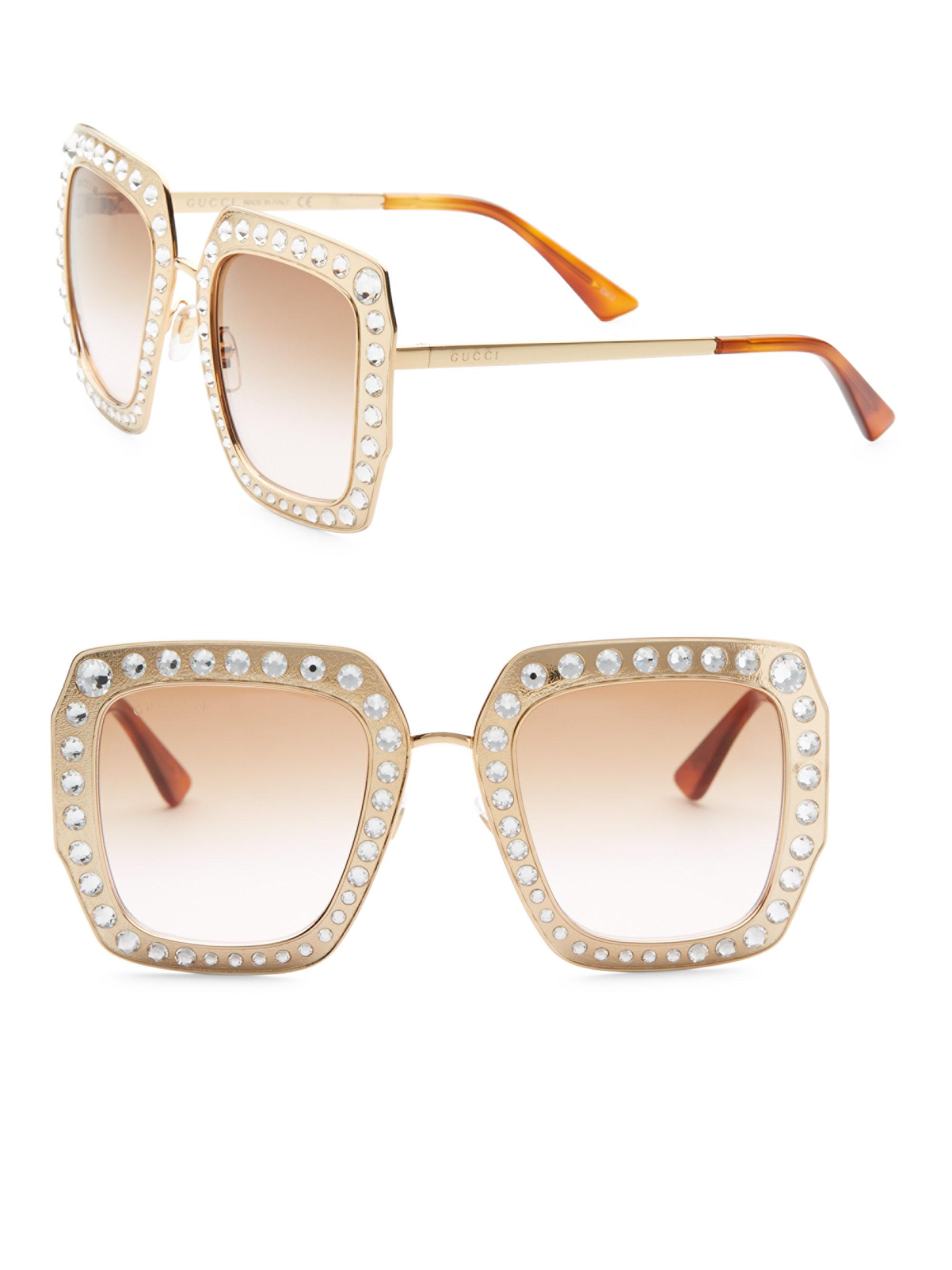 5ec219f2b837 Lyst - Gucci 52mm Crystal-studded Square Sunglasses in Metallic