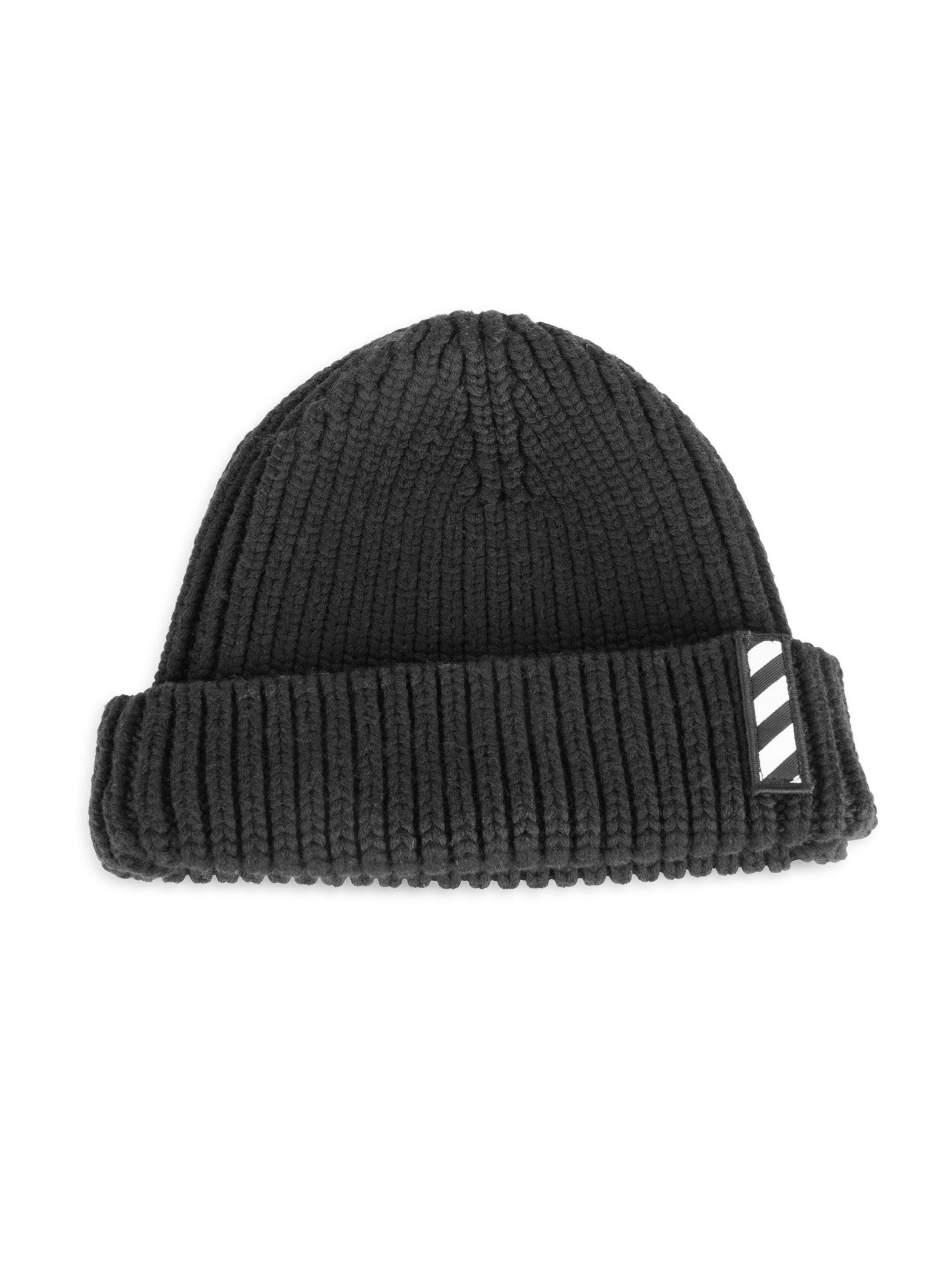 6fcef65d5 Men's Black Logo Patch Wool Beanie
