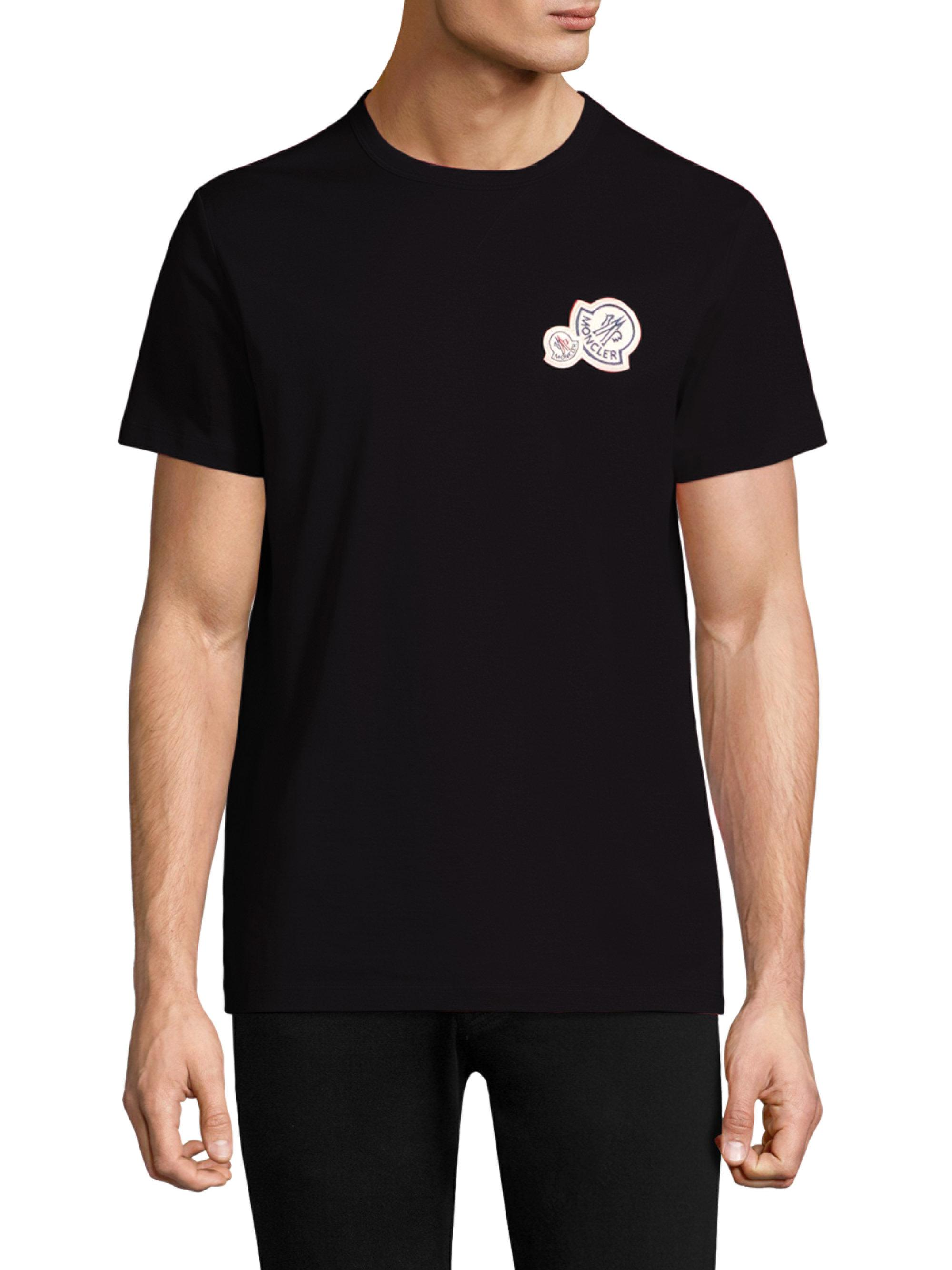979ea123a710 Moncler Double Logo Cotton Tee in Black for Men - Lyst