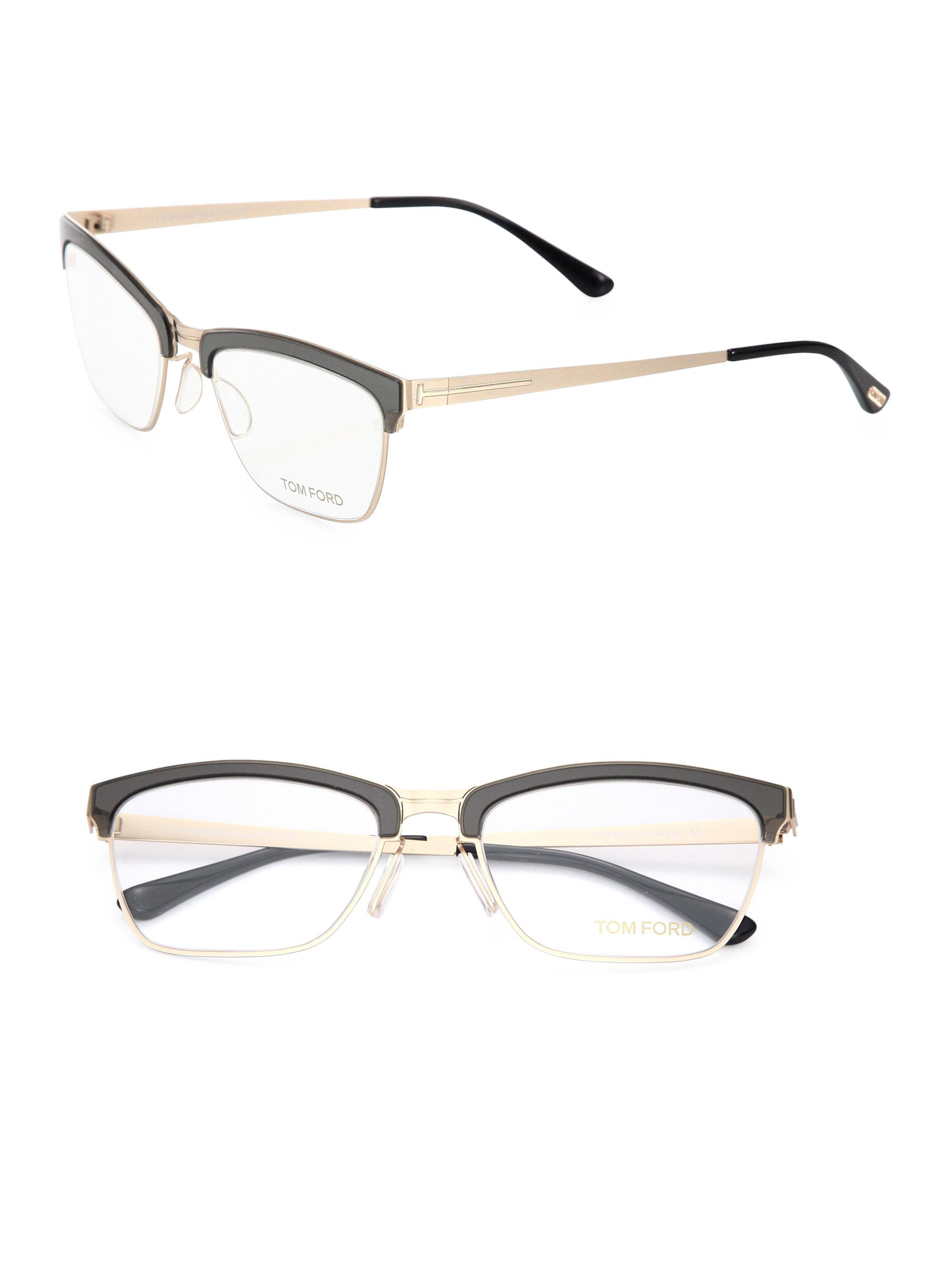 bc9858a10a Tom Ford 54mm Metal Soft Square Optical Glasses in Metallic - Lyst