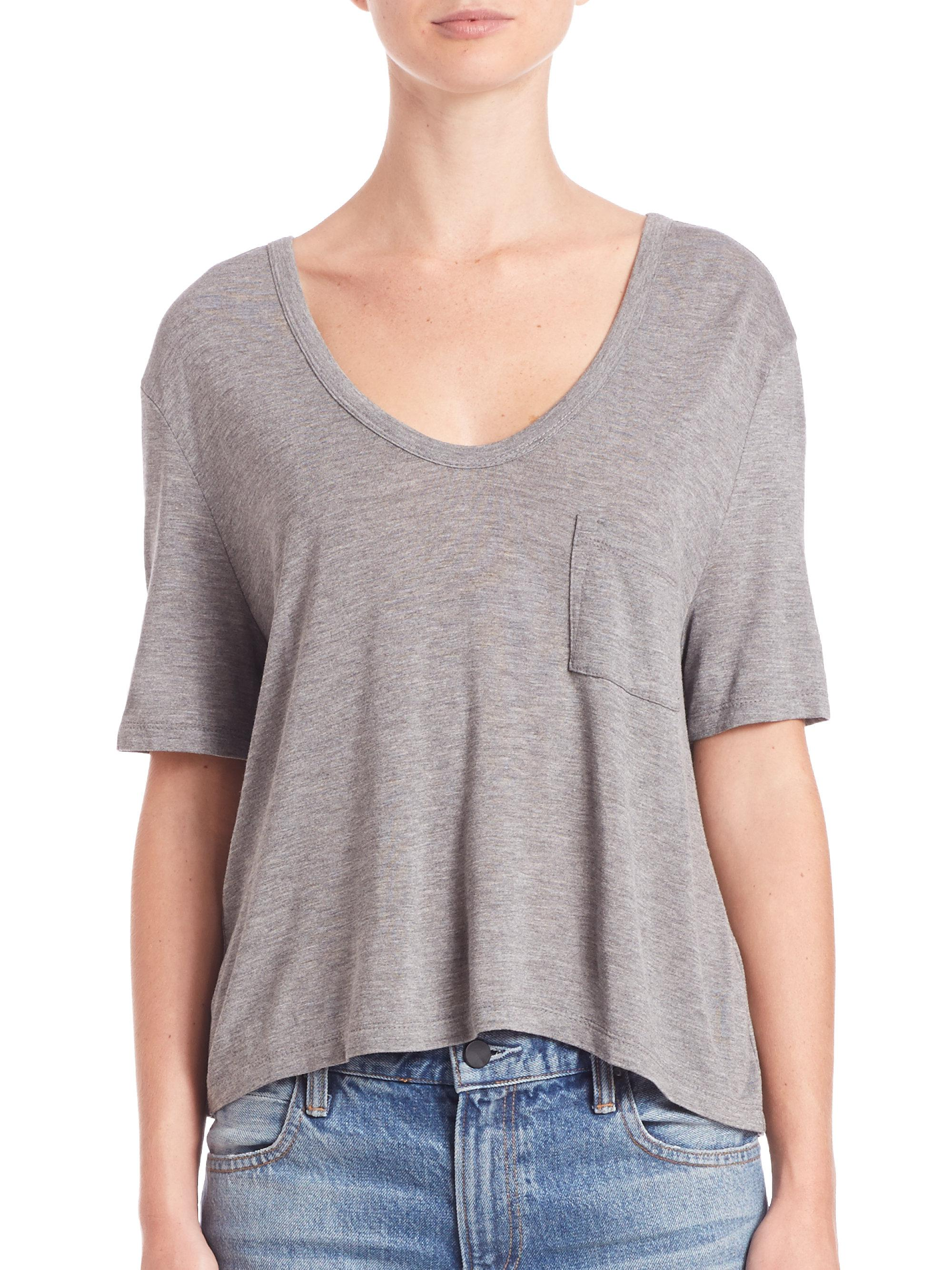 Lyst t by alexander wang classic cropped tee in grey for T by alexander wang t shirt