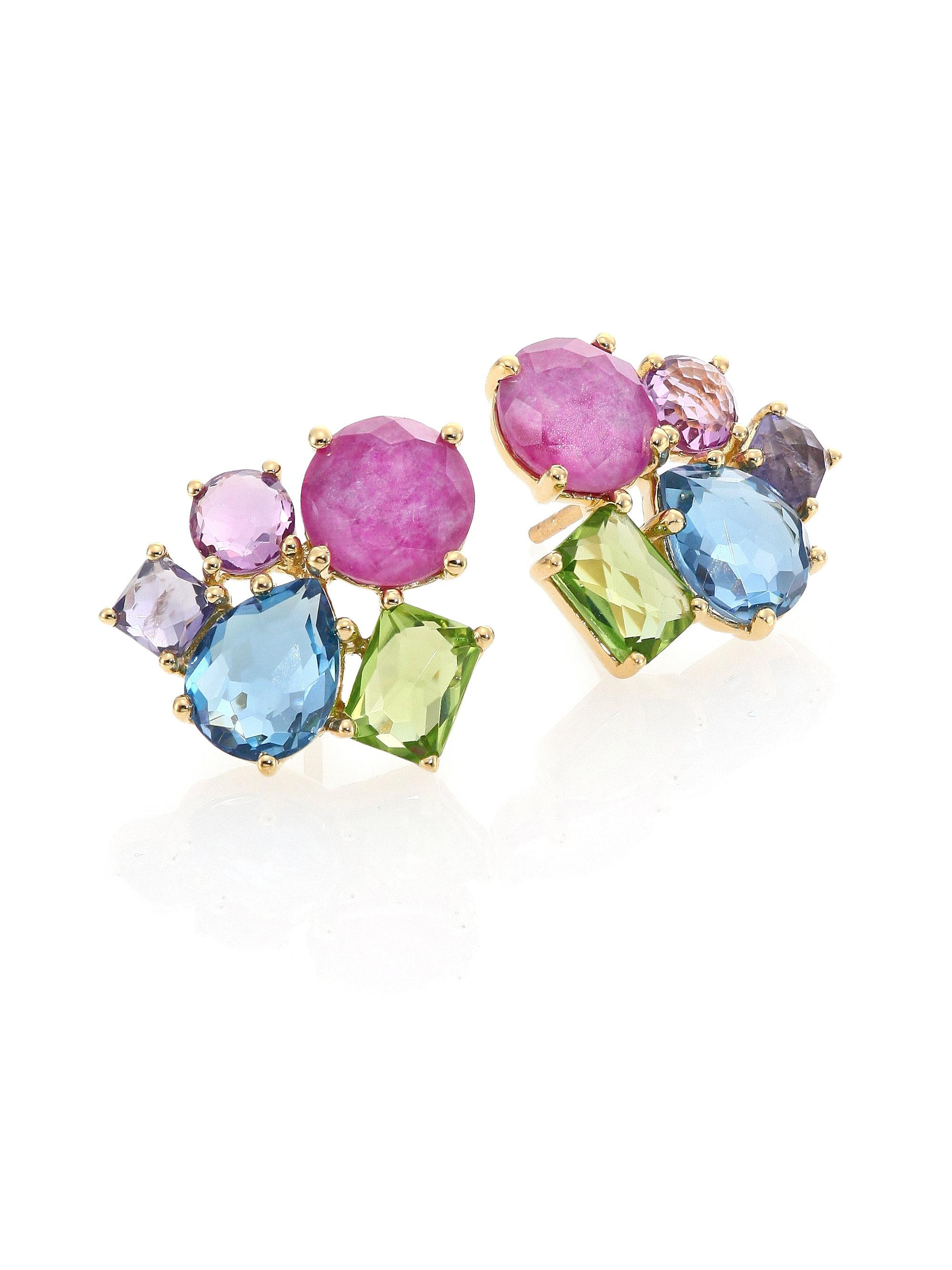 and earrings studded pairs dropping spectacular stones tear a pair pin pearl multicolor stone one the of multi most gemstone coloured darling with