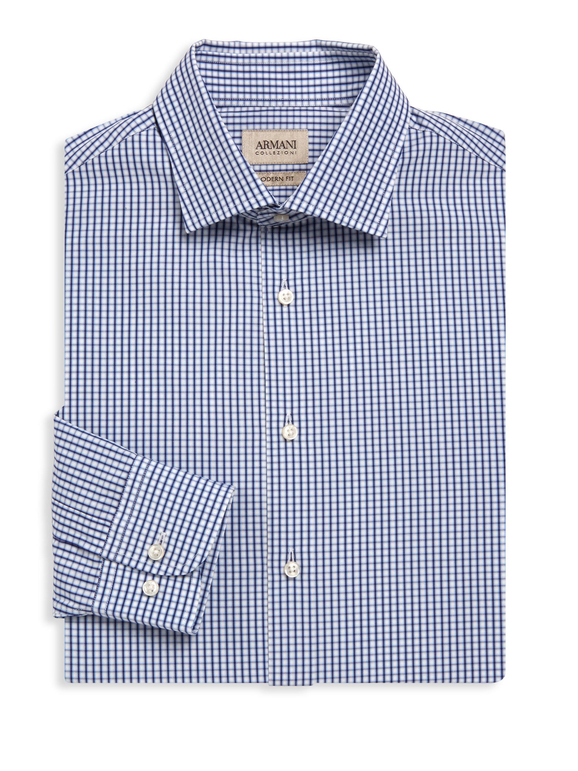 Lyst armani modern fit plaid dress shirt in blue for men for Modern fit dress shirt