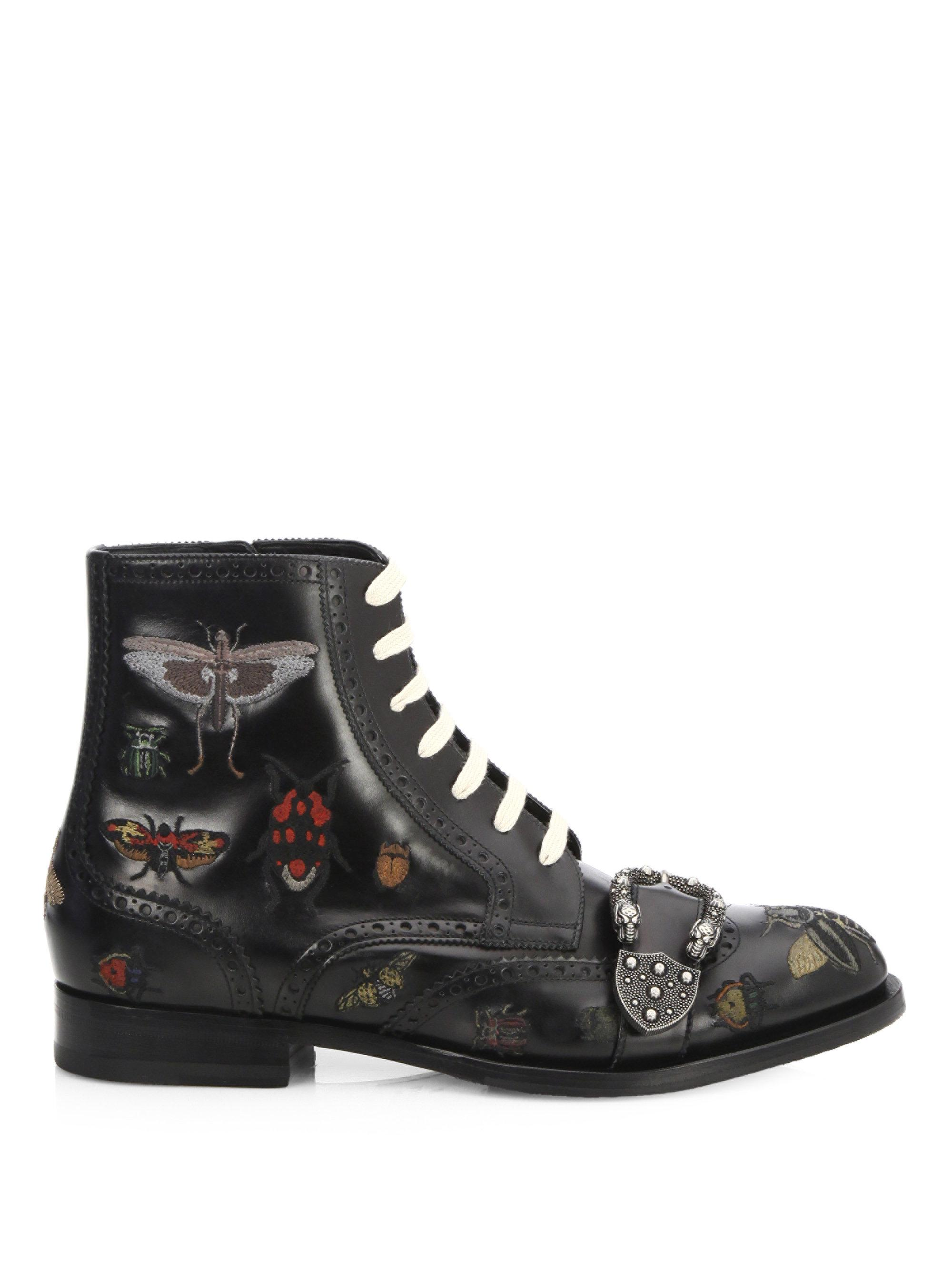 aaed60bec Gucci Queercore Insects Leather Boots in Black - Lyst