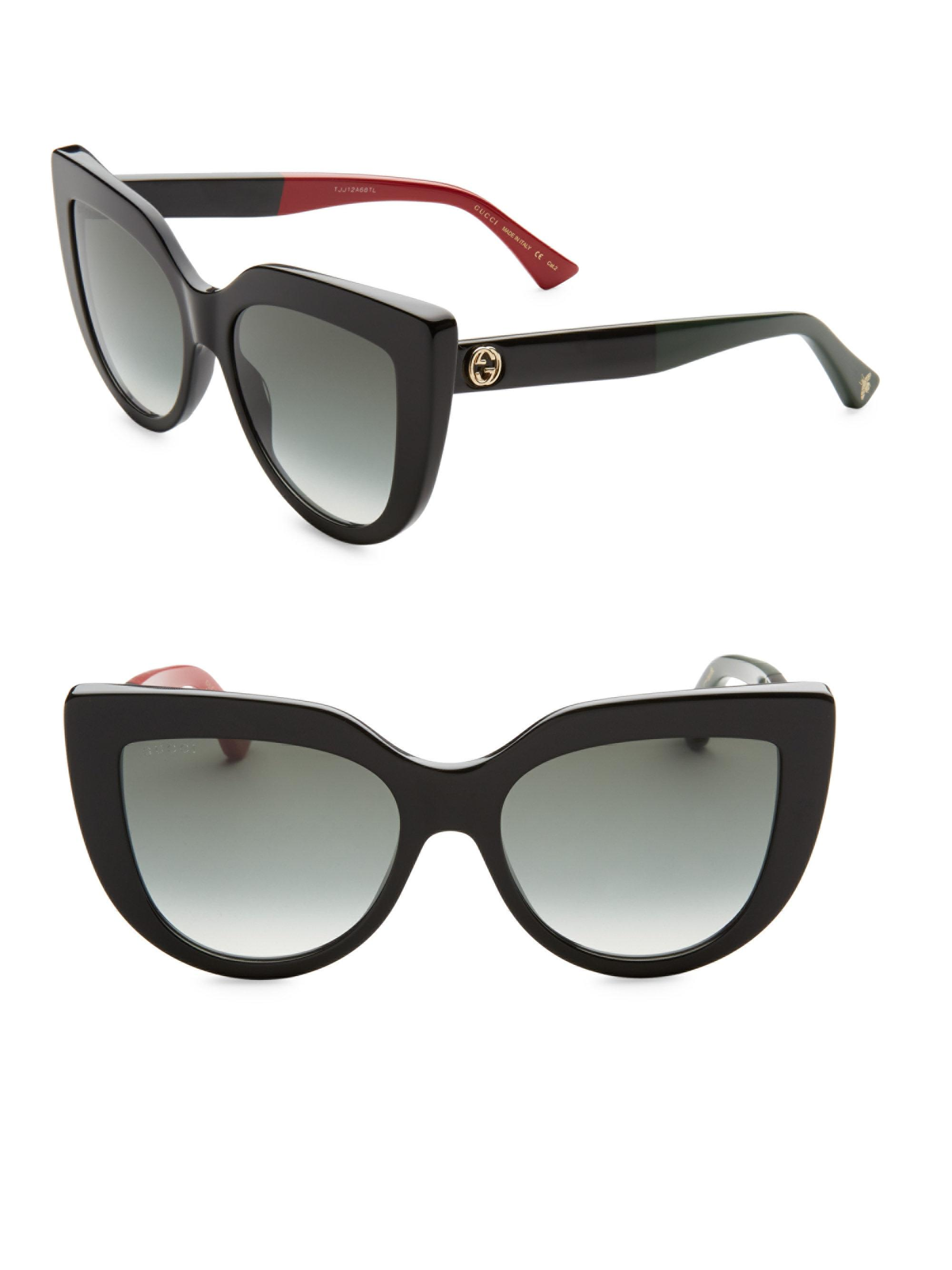 ab98365a3559d Gucci 53mm Colorblocked Arm Cat Eye Sunglasses in Black - Lyst