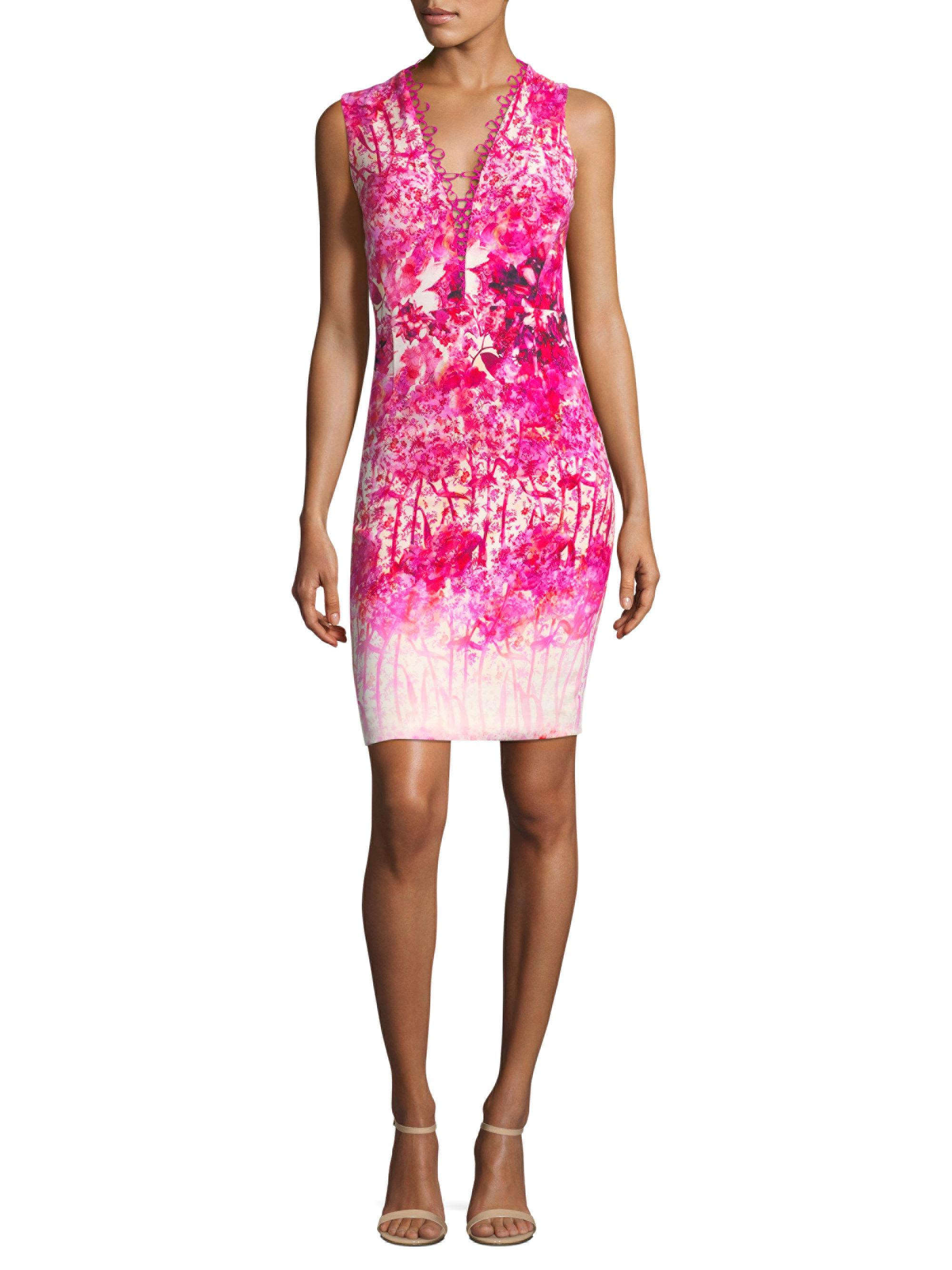 8decb28a4a23b Elie Tahari Floral Sheath Dress in Pink - Lyst