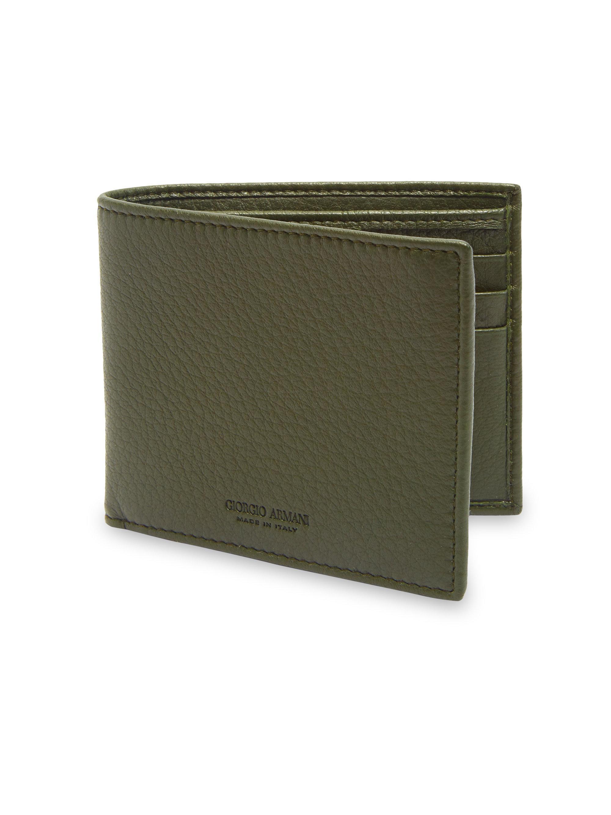 f2946f8f18 Emporio Armani Green Grained Leather Wallet for men