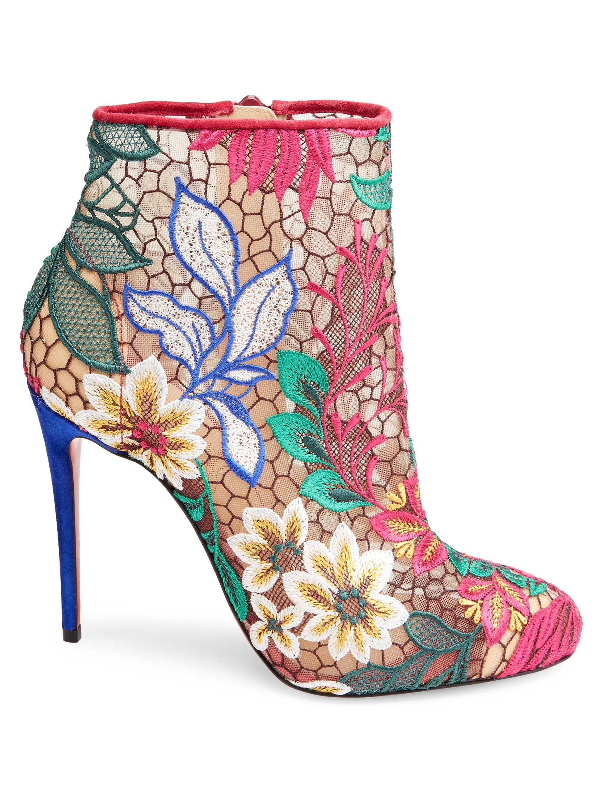 size 40 82112 9bf10 Christian Louboutin Multicolor Miss Tennis 100 Floral Mesh Booties