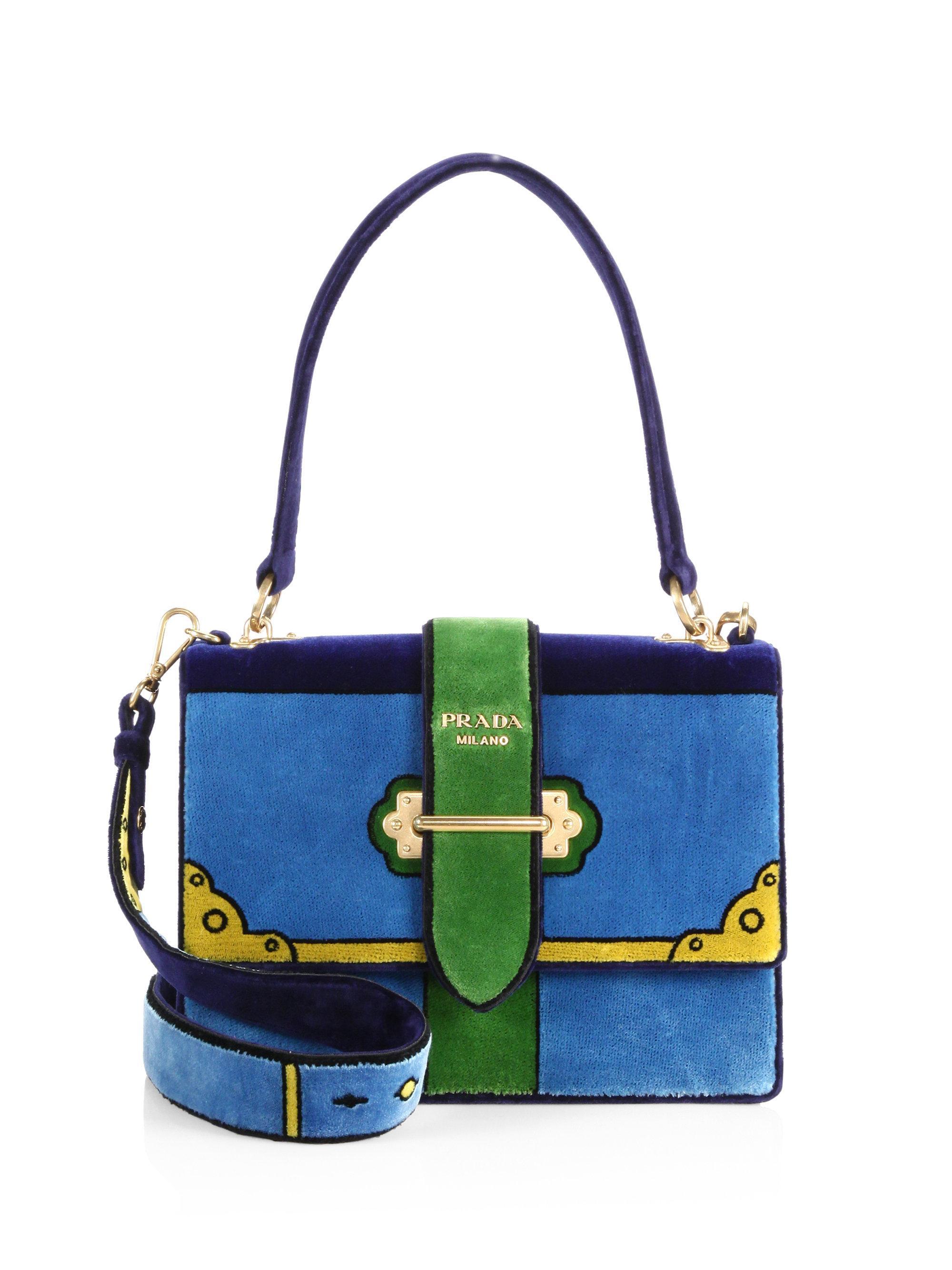 37d373bb1cfe ... best price lyst prada cahier colorblock velvet handbag in blue a06d5  e4413
