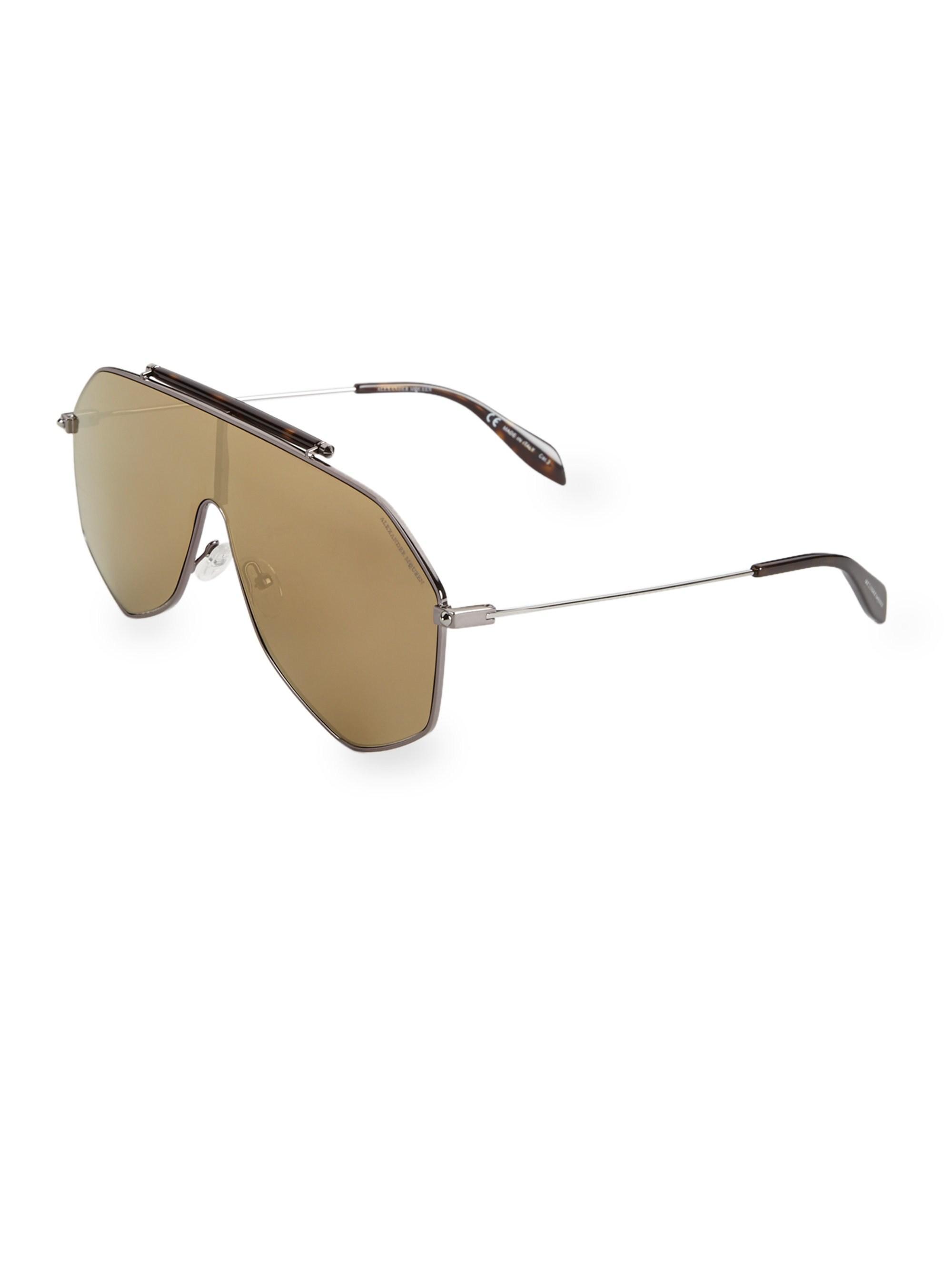 d00833a0b664 Alexander McQueen - Multicolor Men s Piercing 99mm Shield Sunglasses -  Ruthenium Havana for Men - Lyst. View fullscreen