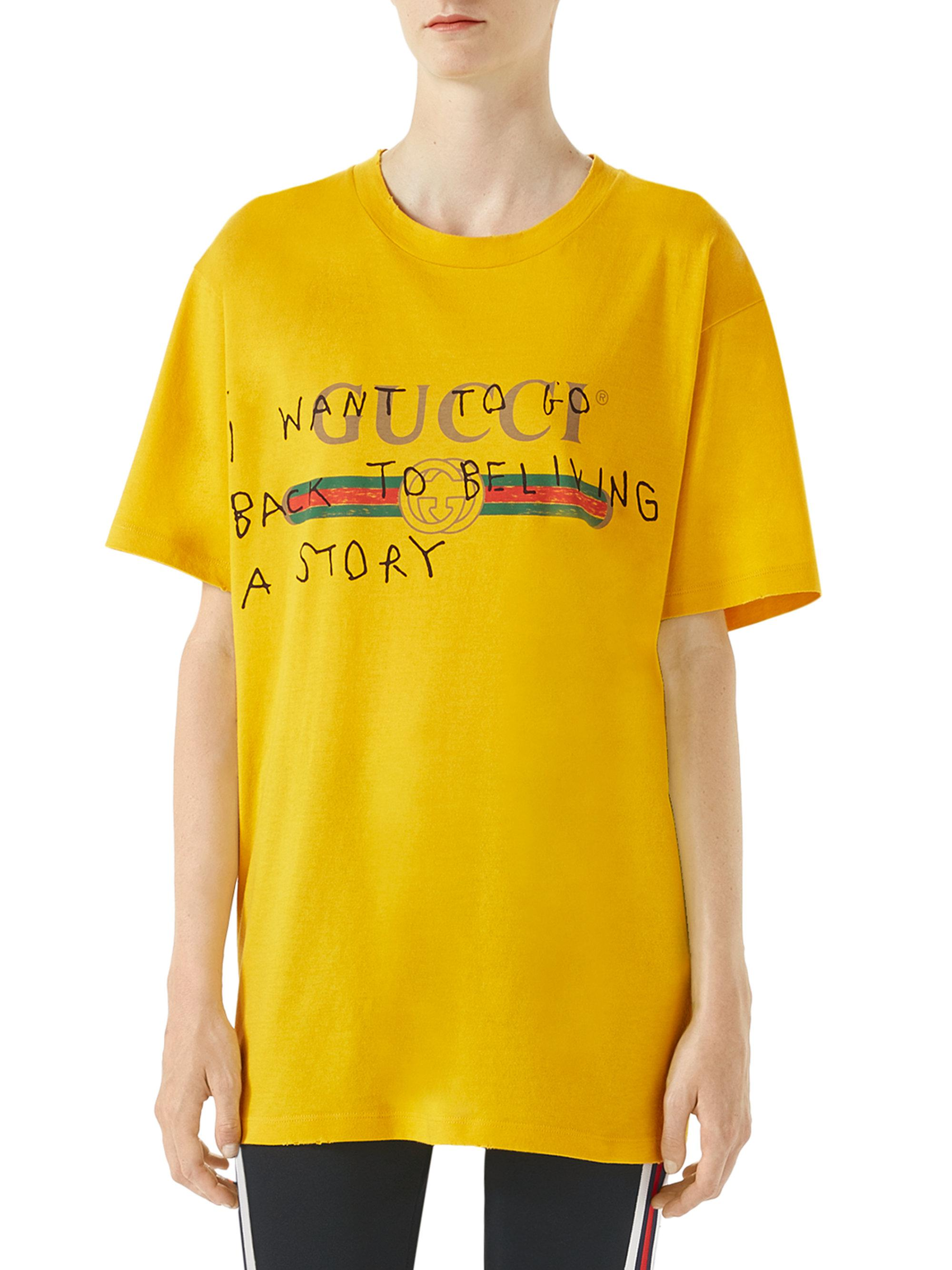 bb0a9785a67 Lyst - Gucci Logo Writing T-shirt in Yellow