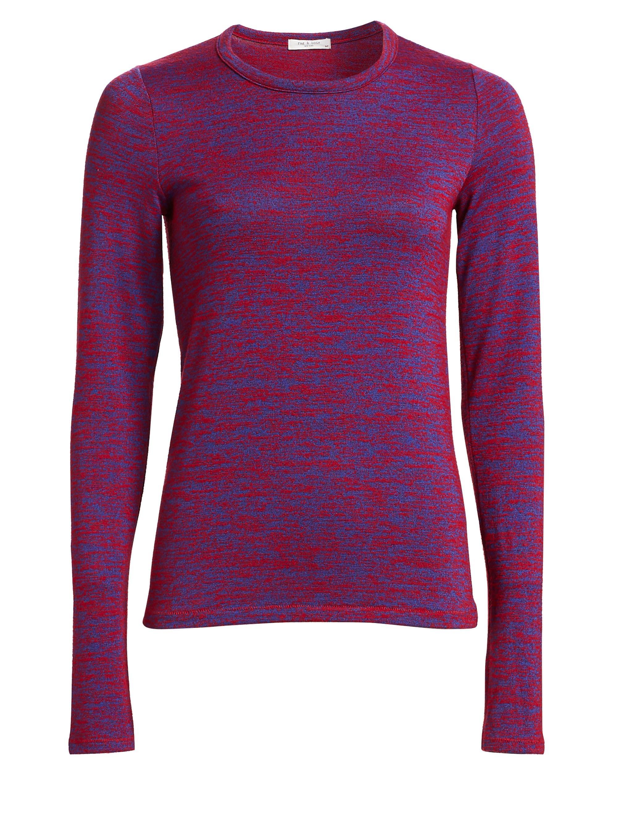 59b9b269e5 Lyst - Rag & Bone Marled Jersey Long-sleeve Tee in Purple