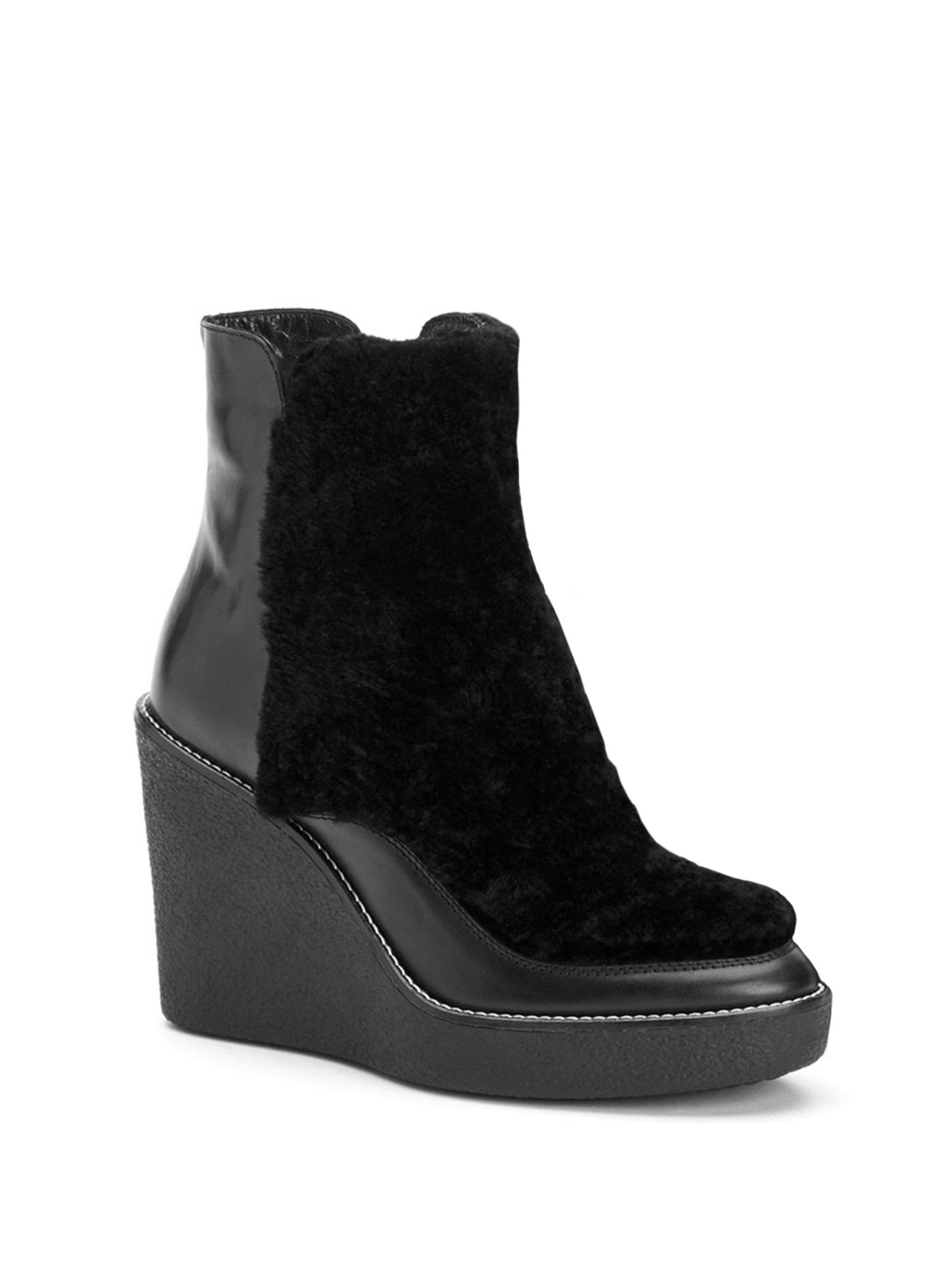 Aquatalia Violett Shearling & Leather Wedge Booties fZumiGd