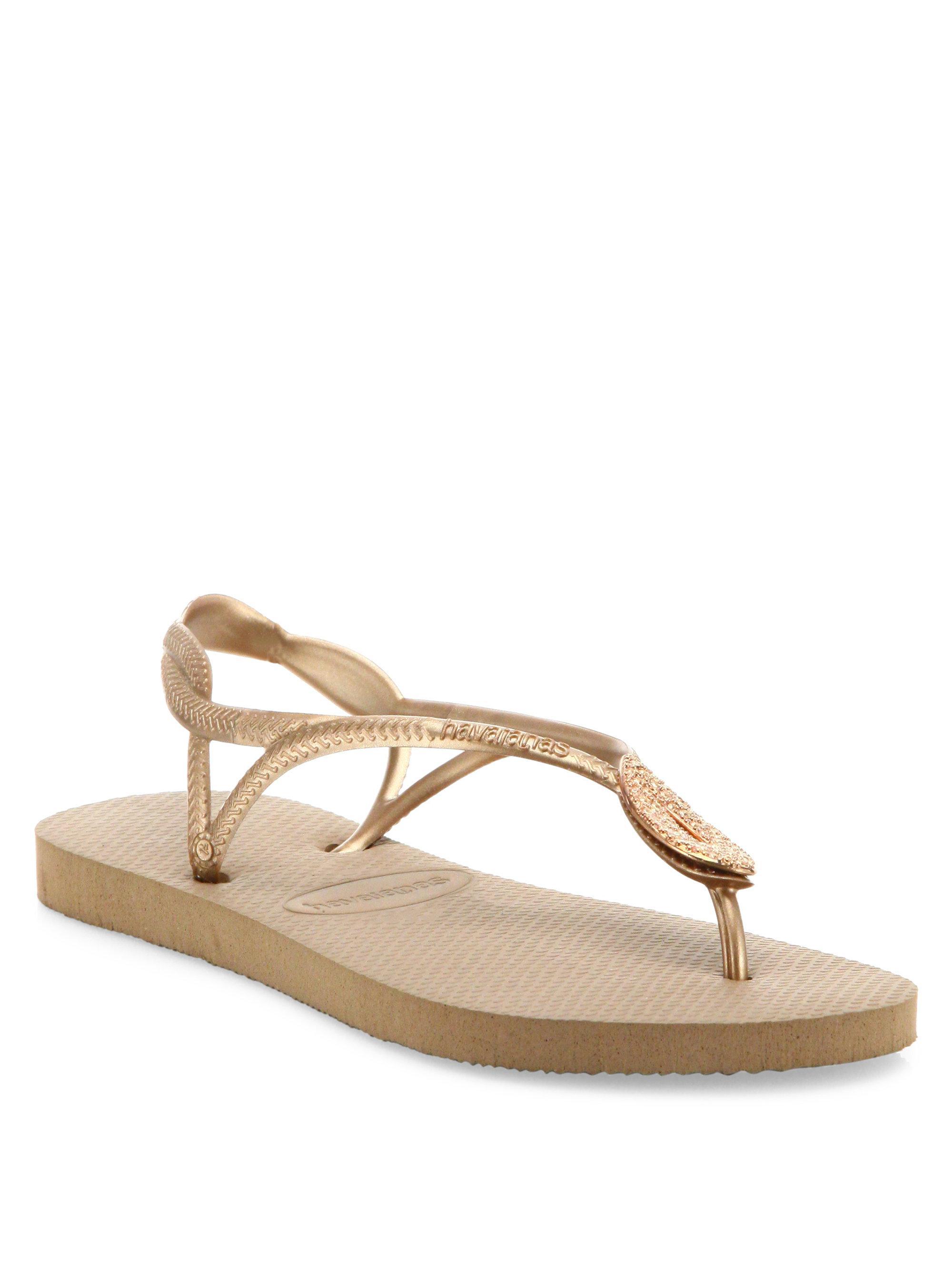 c4c511c19250 Lyst - Havaianas Luna Special Metallic Rubber Sandals in Metallic