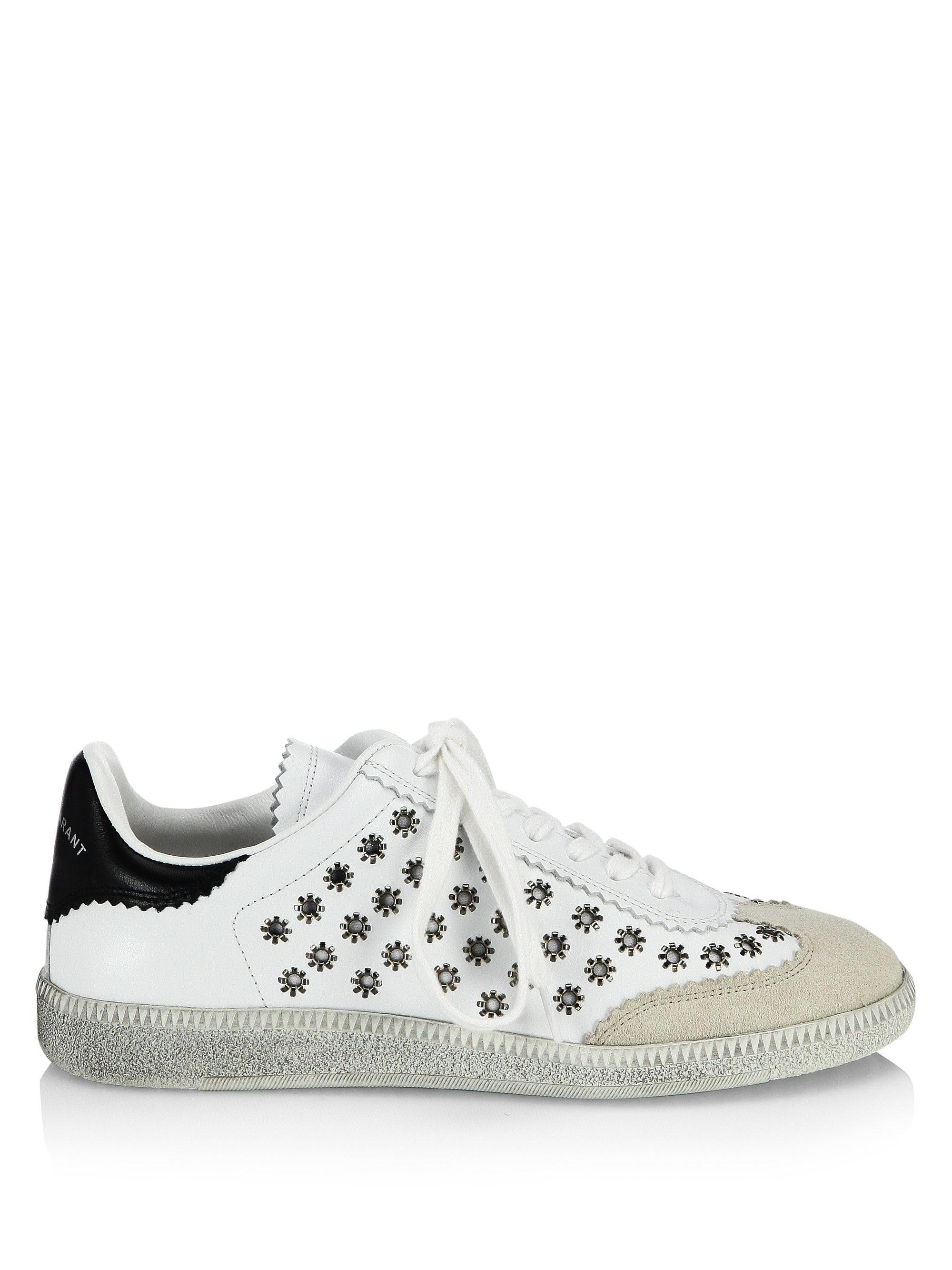 Isabel Marant White Bryce Eyelet Studded Sneakers emc8MC3