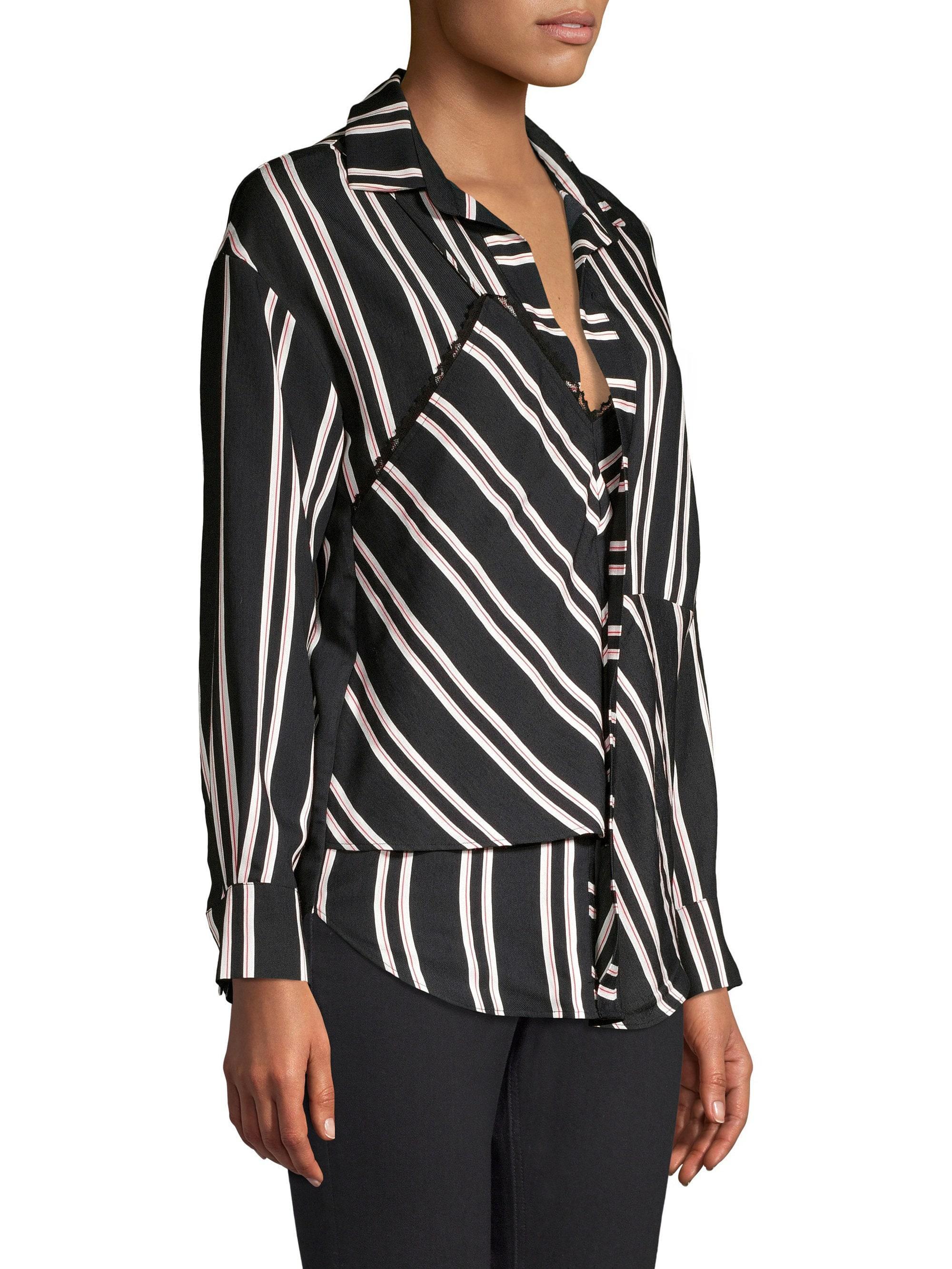 Maje Larencia Striped Trompe Loeil Collared Shirt in
