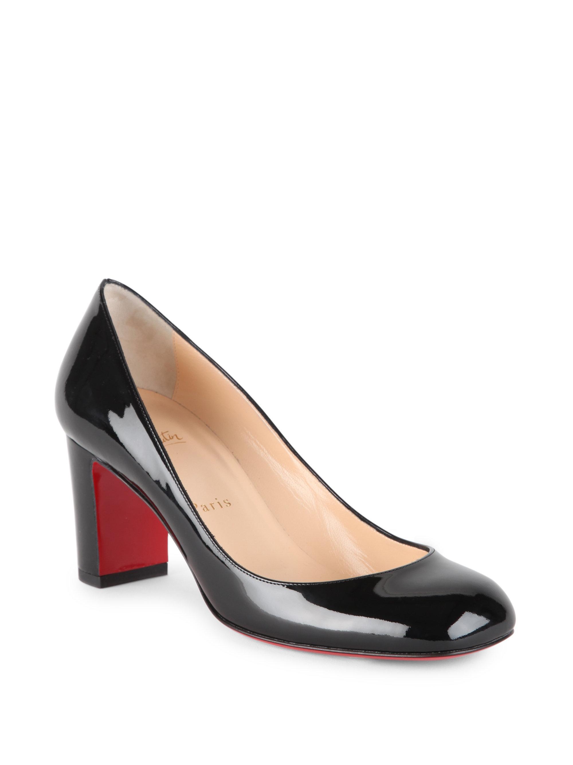 size 40 6dfc7 c8e36 Christian Louboutin Black Cadrilla 70 Patent Leather Block Heel Pumps