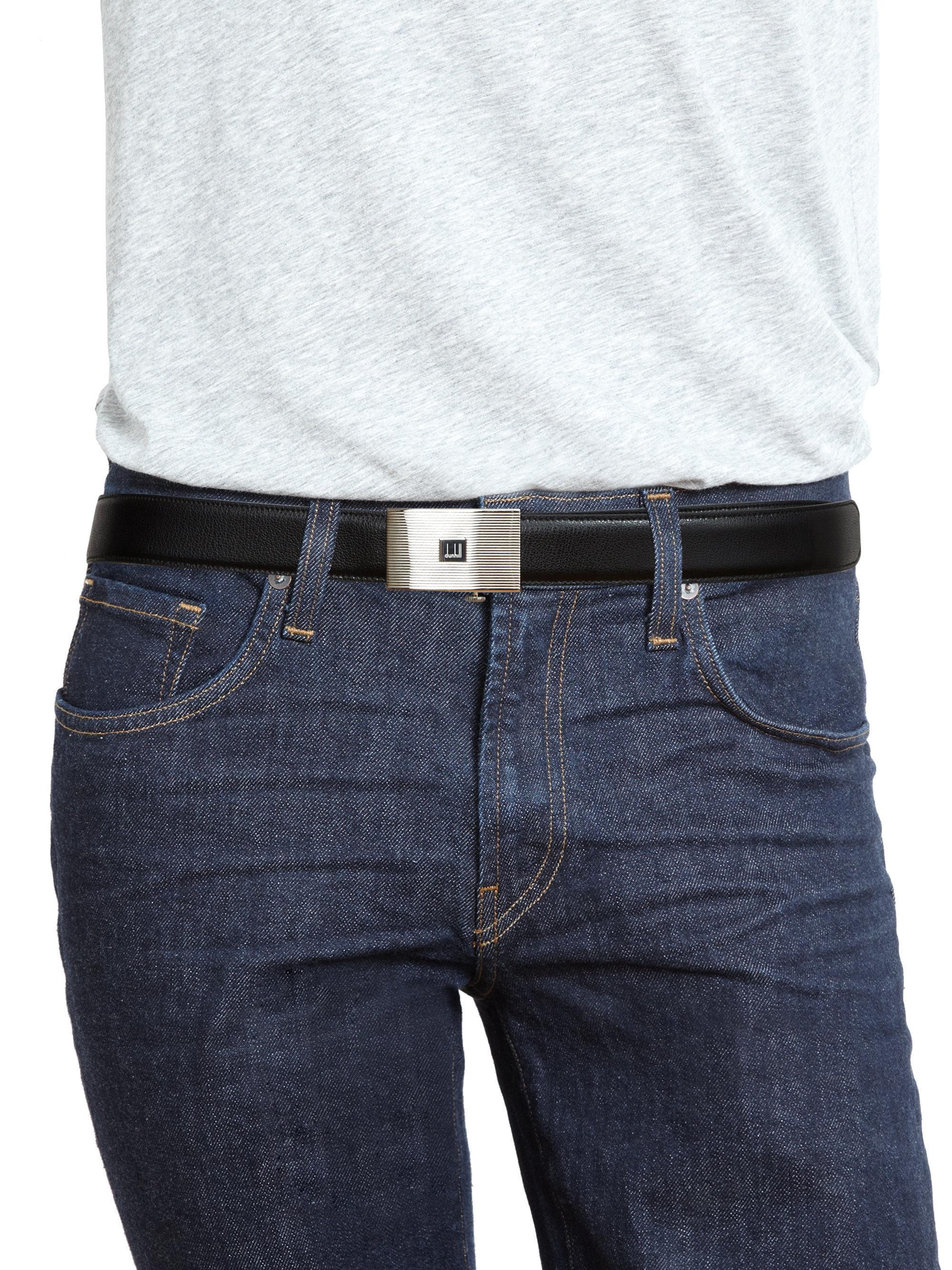 Dunhill Cowhide Leather Logo Belt In Black For Men Lyst