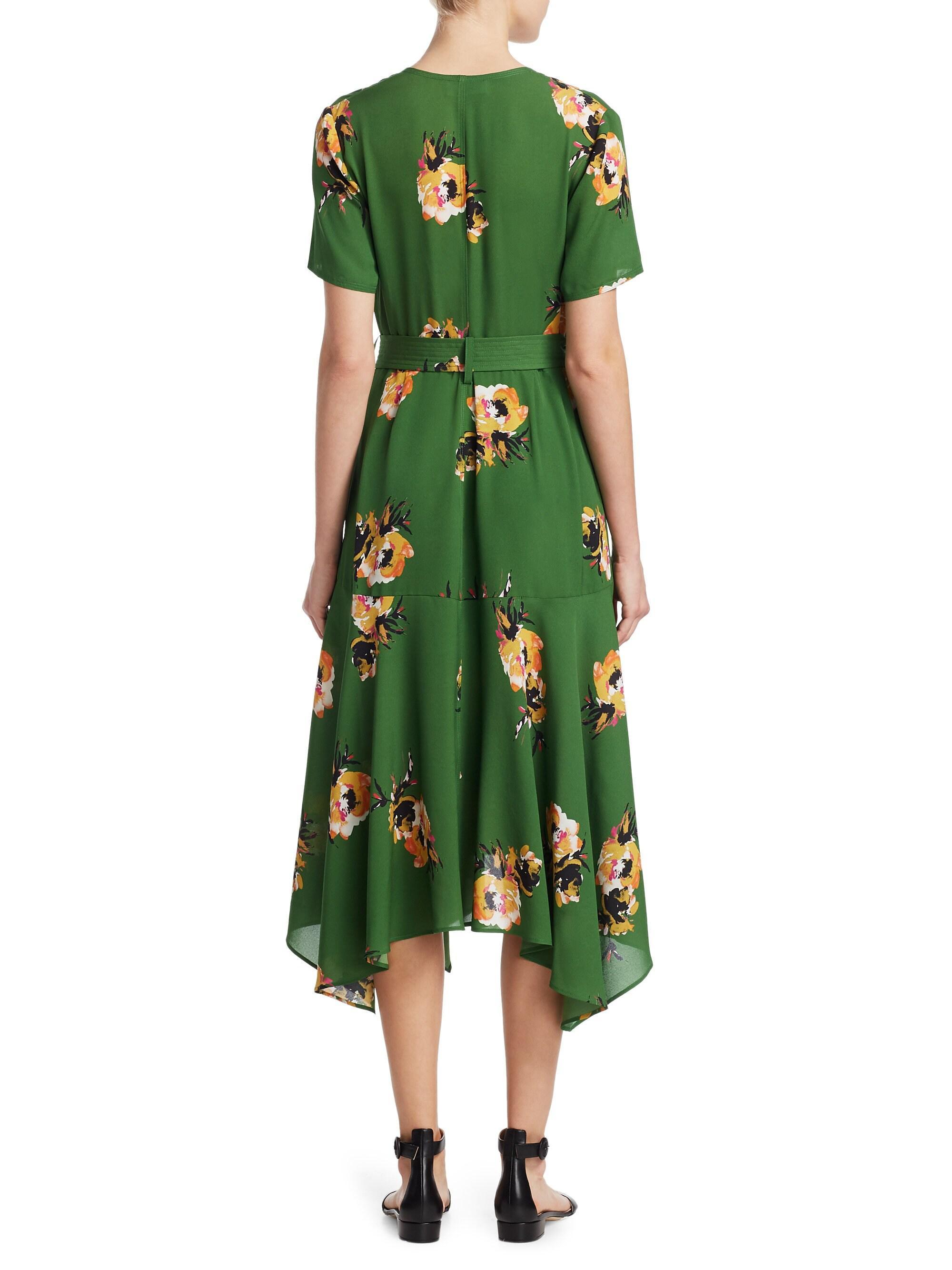 0659439790 A.L.C. Cora Floral Silk Wrap Midi Dress in Green - Lyst