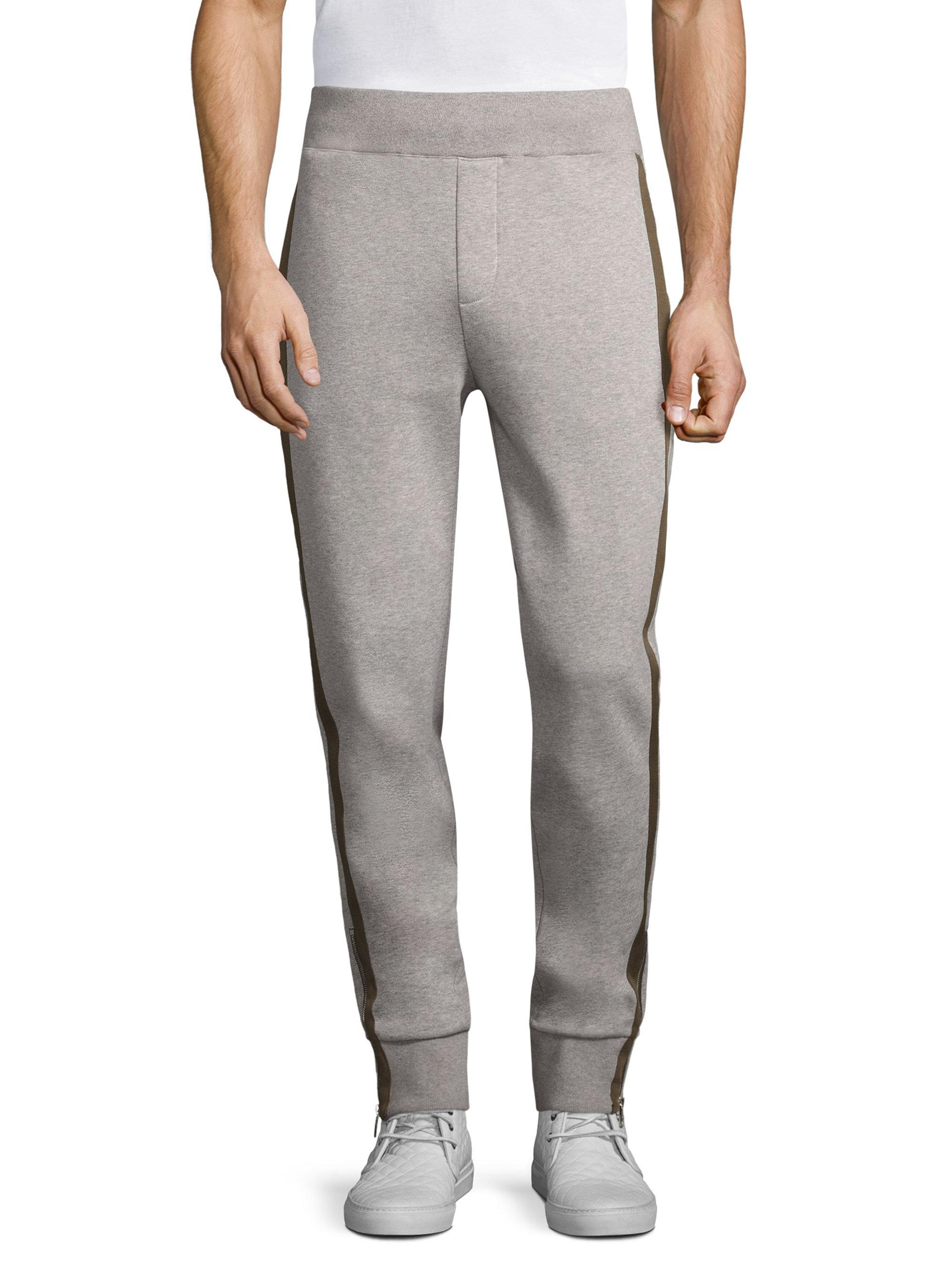 541db9a5bb00 Lyst - Moncler Zip Cuff Cotton Jogger Pants in Gray for Men