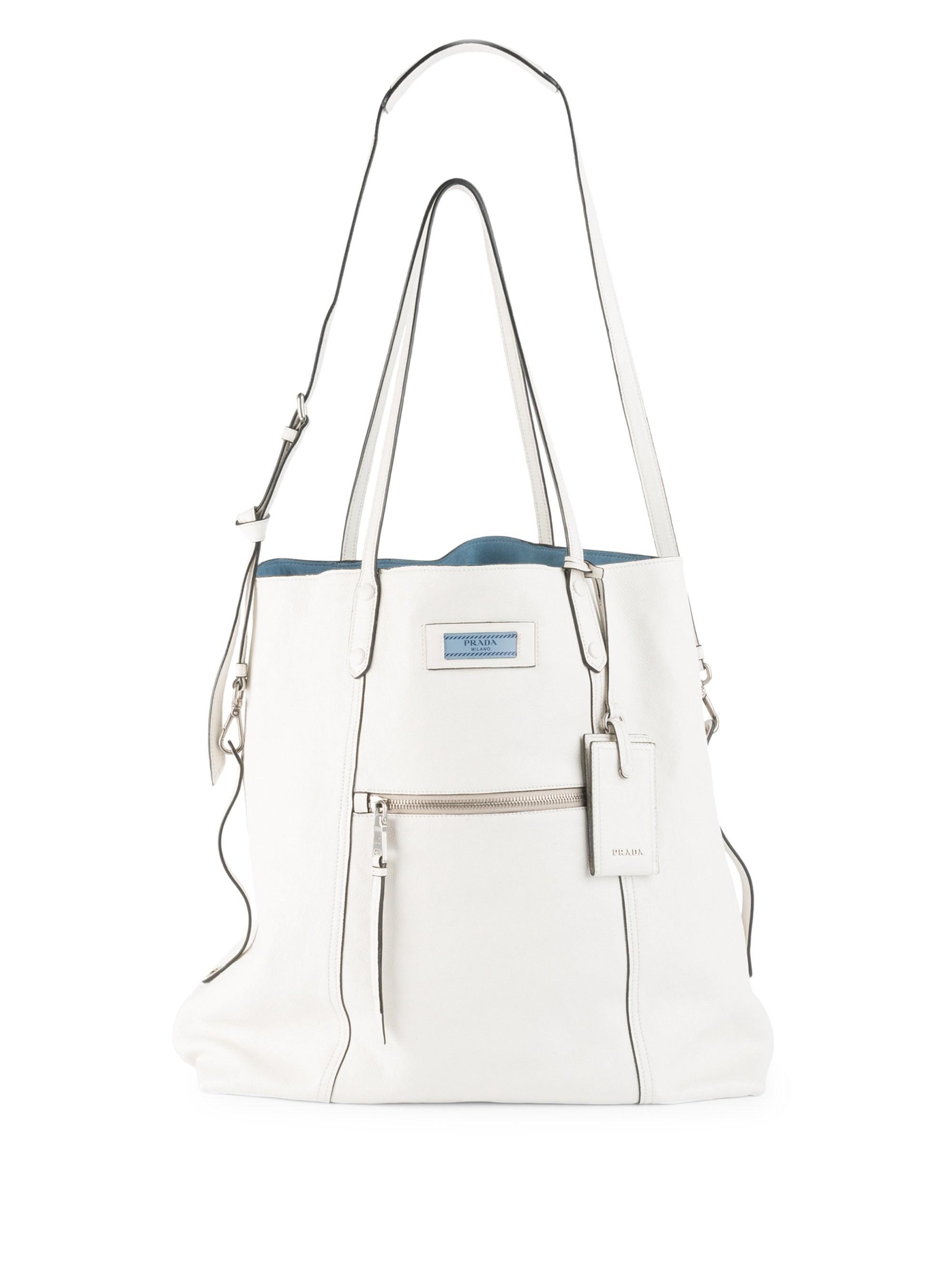 95976fcfb3c085 Lyst - Prada Glace Etiquette Leather Shoulder Bag in White