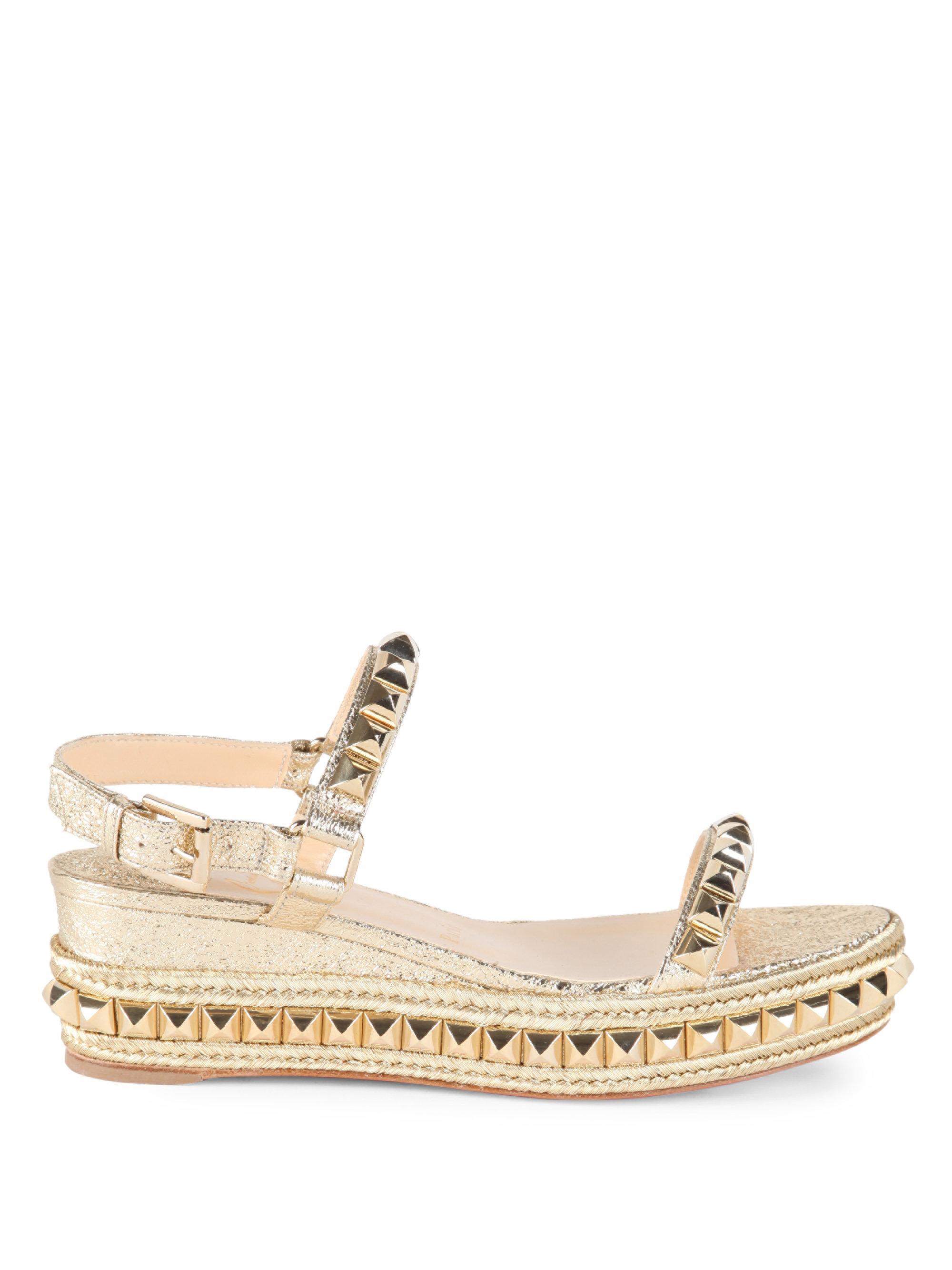 087be5925e1 Christian Louboutin Cataclou 60 Studded Metallic Leather Espadrille Wedge  Sandals