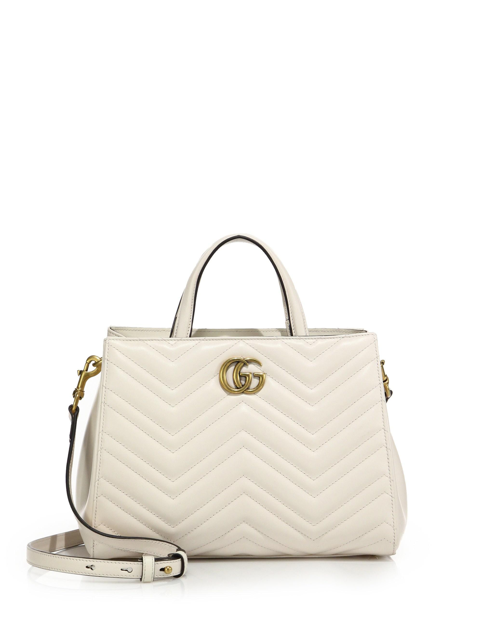 cae57995aa184 Lyst - Gucci GG Marmont Matelasse Leather Top-Handle Tote in White