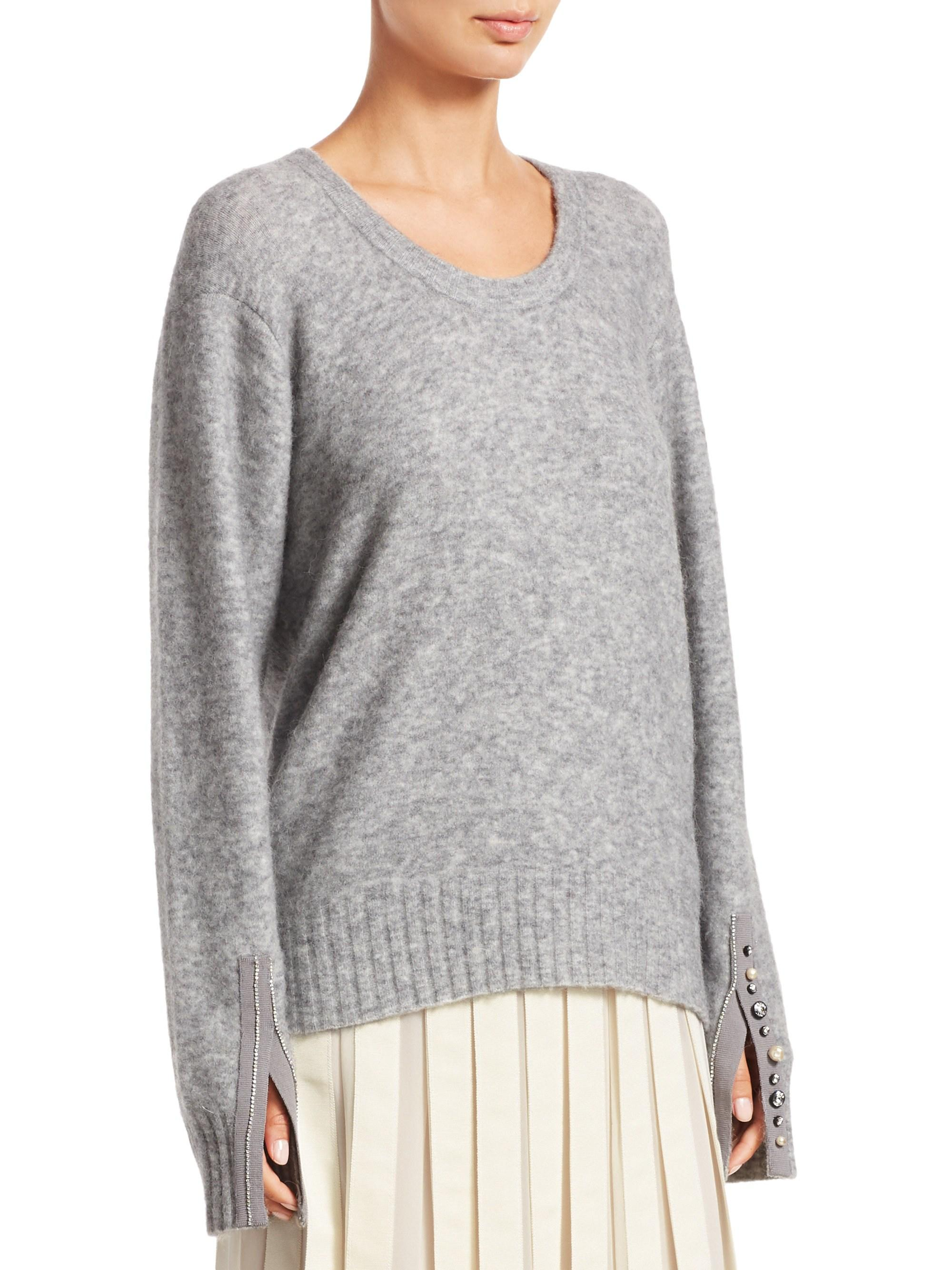 3.1 Phillip Lim - Gray Embellished Split-cuff Roundneck Alpaca Sweater -  Lyst. View fullscreen a0584a8bb